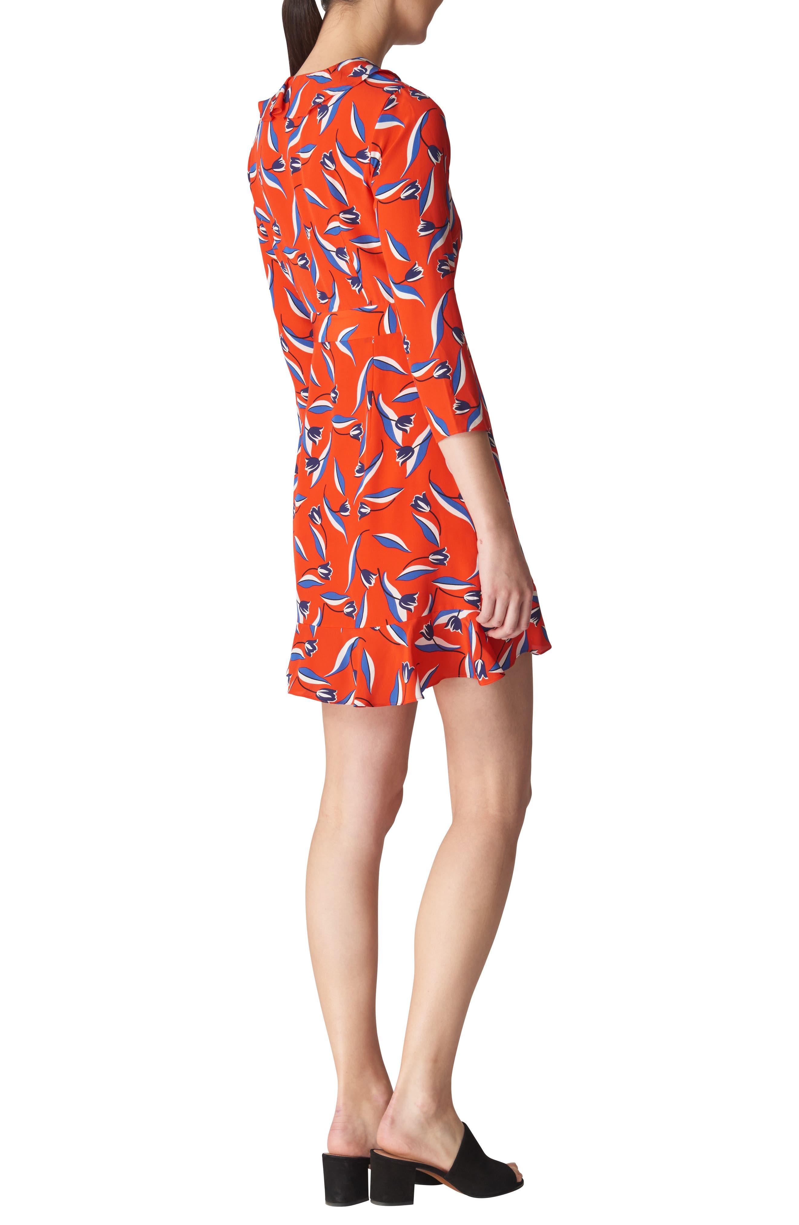 Mimi Frill Silk Wrap Dress,                             Alternate thumbnail 2, color,                             Red/ Multi