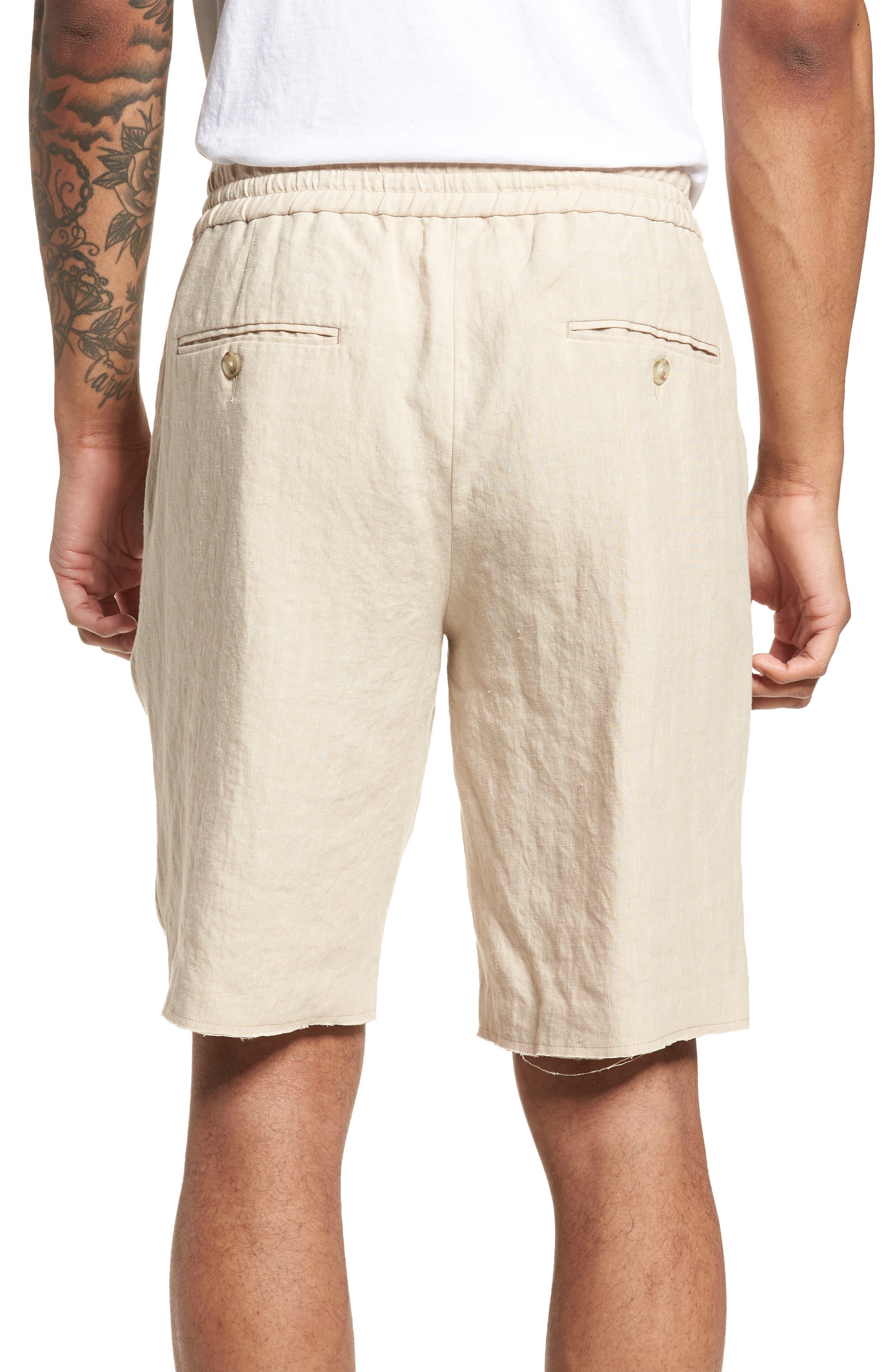 Raw Hem Slim Fit Track Shorts,                             Alternate thumbnail 2, color,                             White Sand