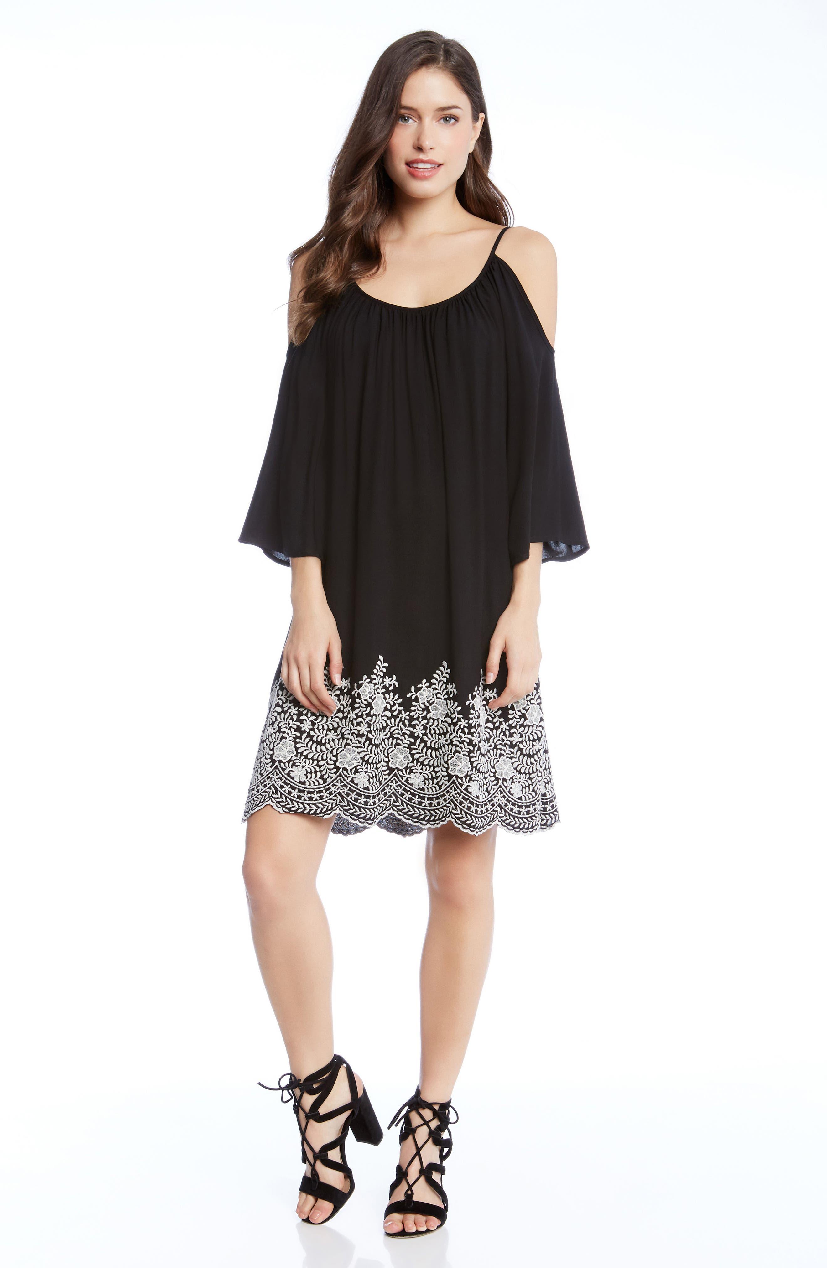 Embroidered Cold Shoulder Dress,                             Alternate thumbnail 3, color,                             Black
