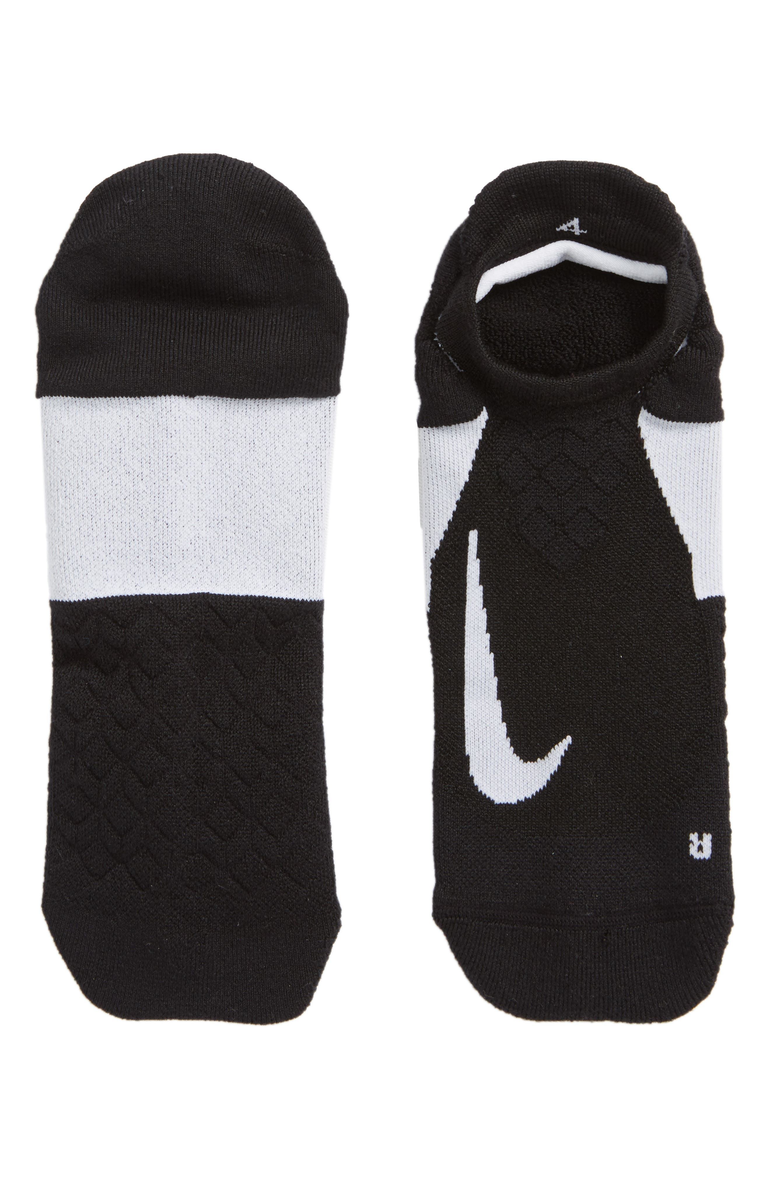 Elite Cushioned No-Show Tab Running Socks,                             Alternate thumbnail 4, color,                             Black