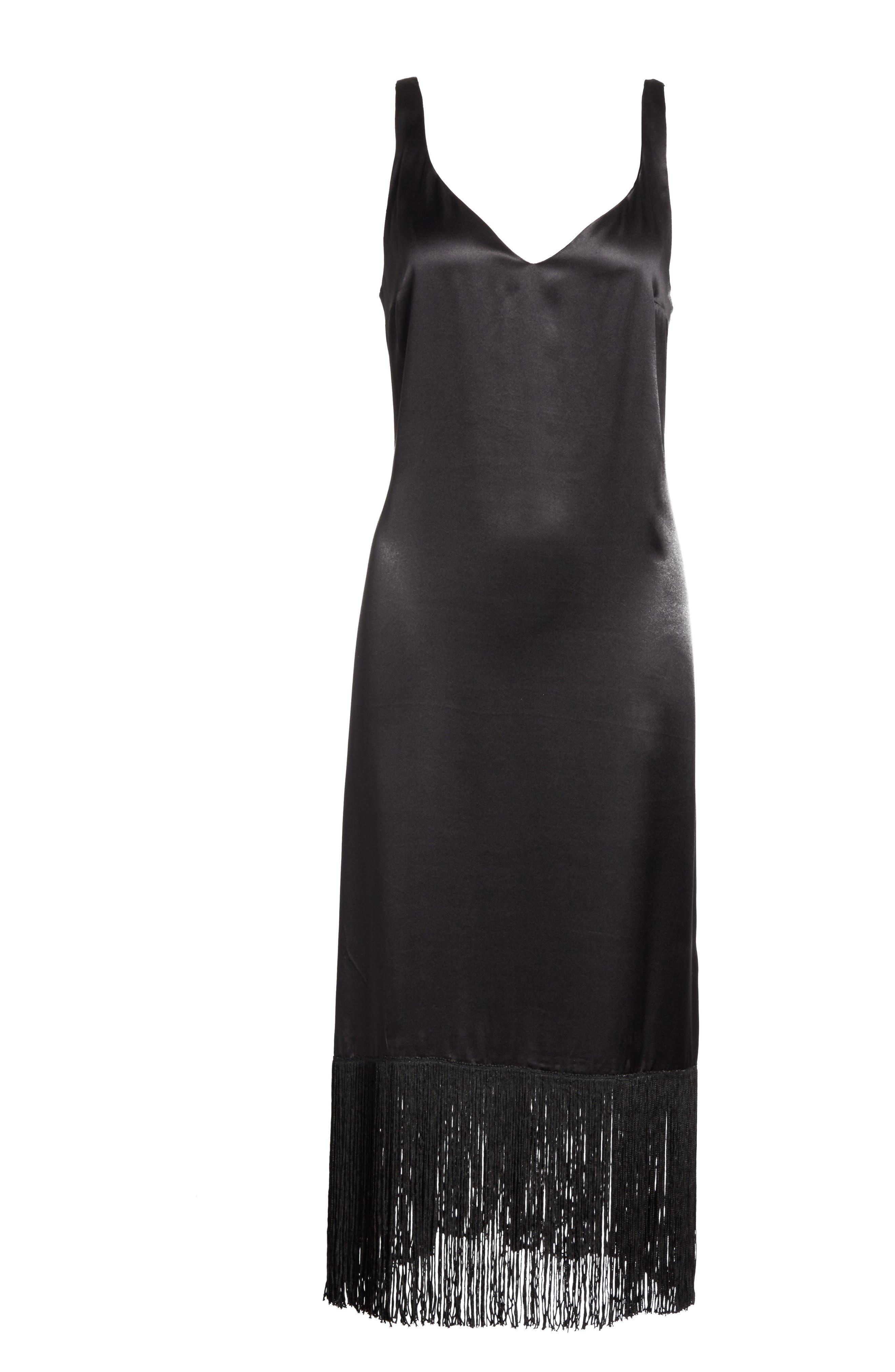 Fringe Silk Midi Dress,                             Alternate thumbnail 6, color,                             Black