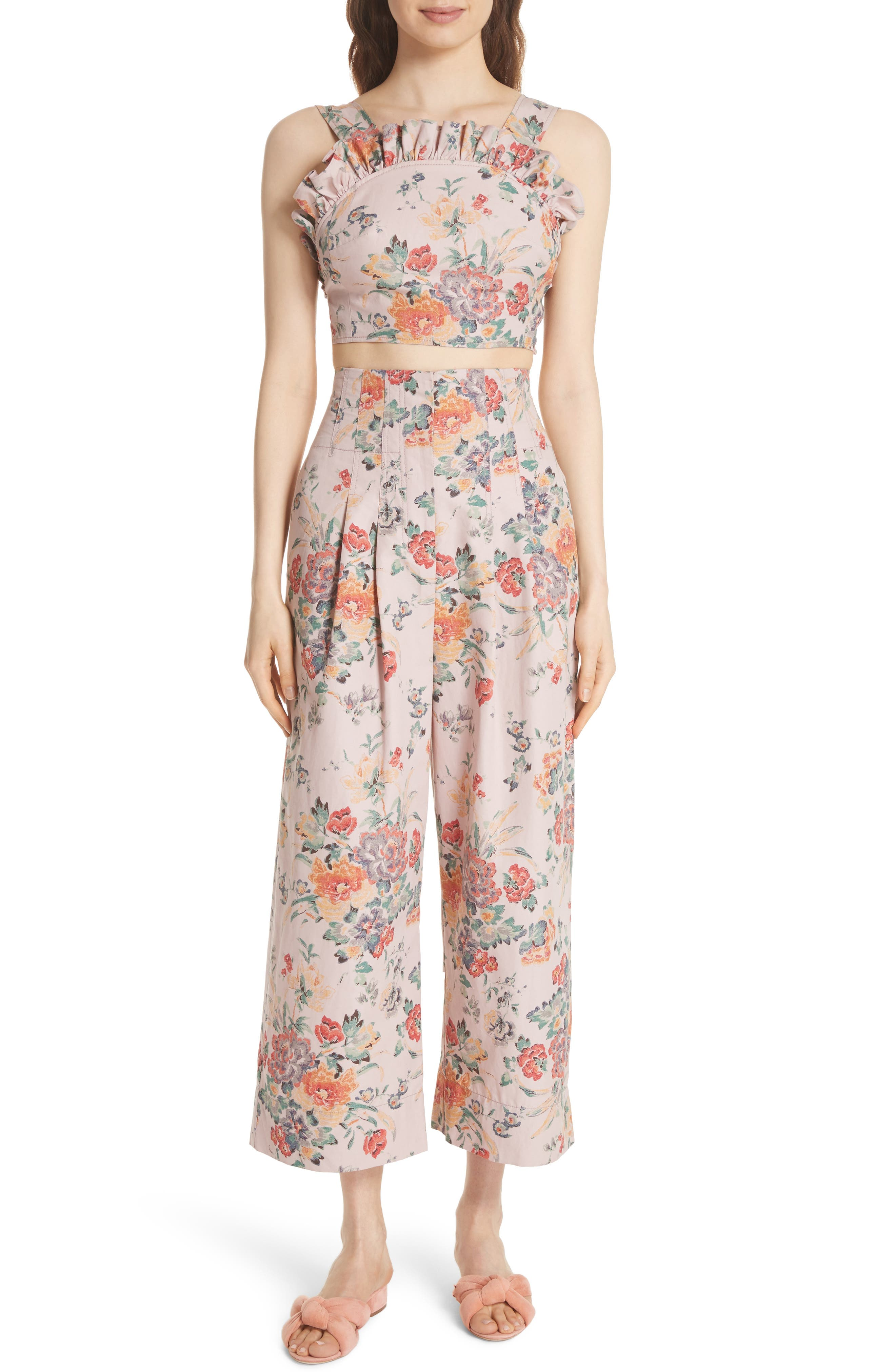 Marlena Floral Crop Pants,                             Alternate thumbnail 6, color,                             Dusty Rose Combo