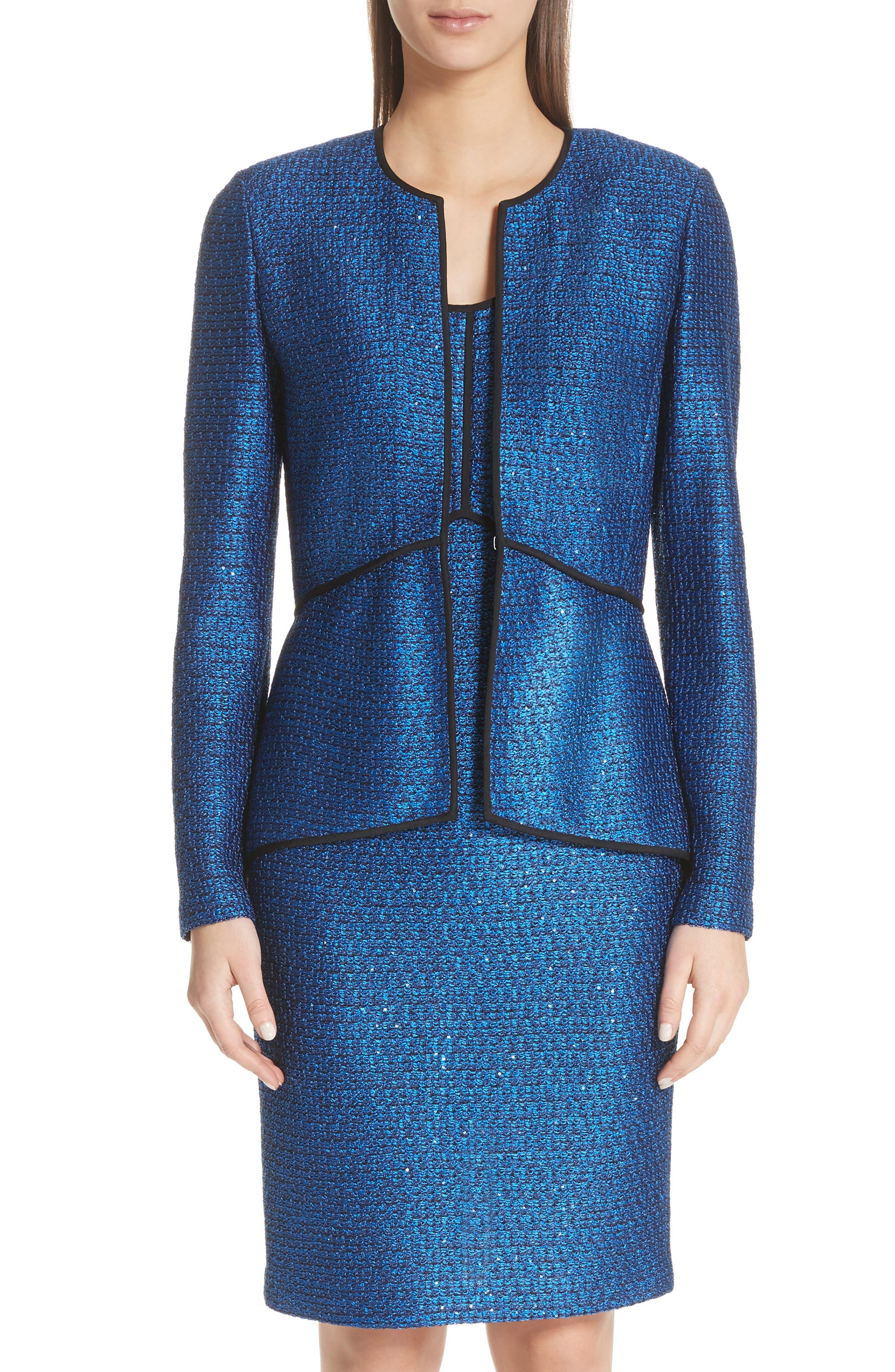 Luster Sequin Knit Jacket,                             Main thumbnail 1, color,                             Cobalt Multi
