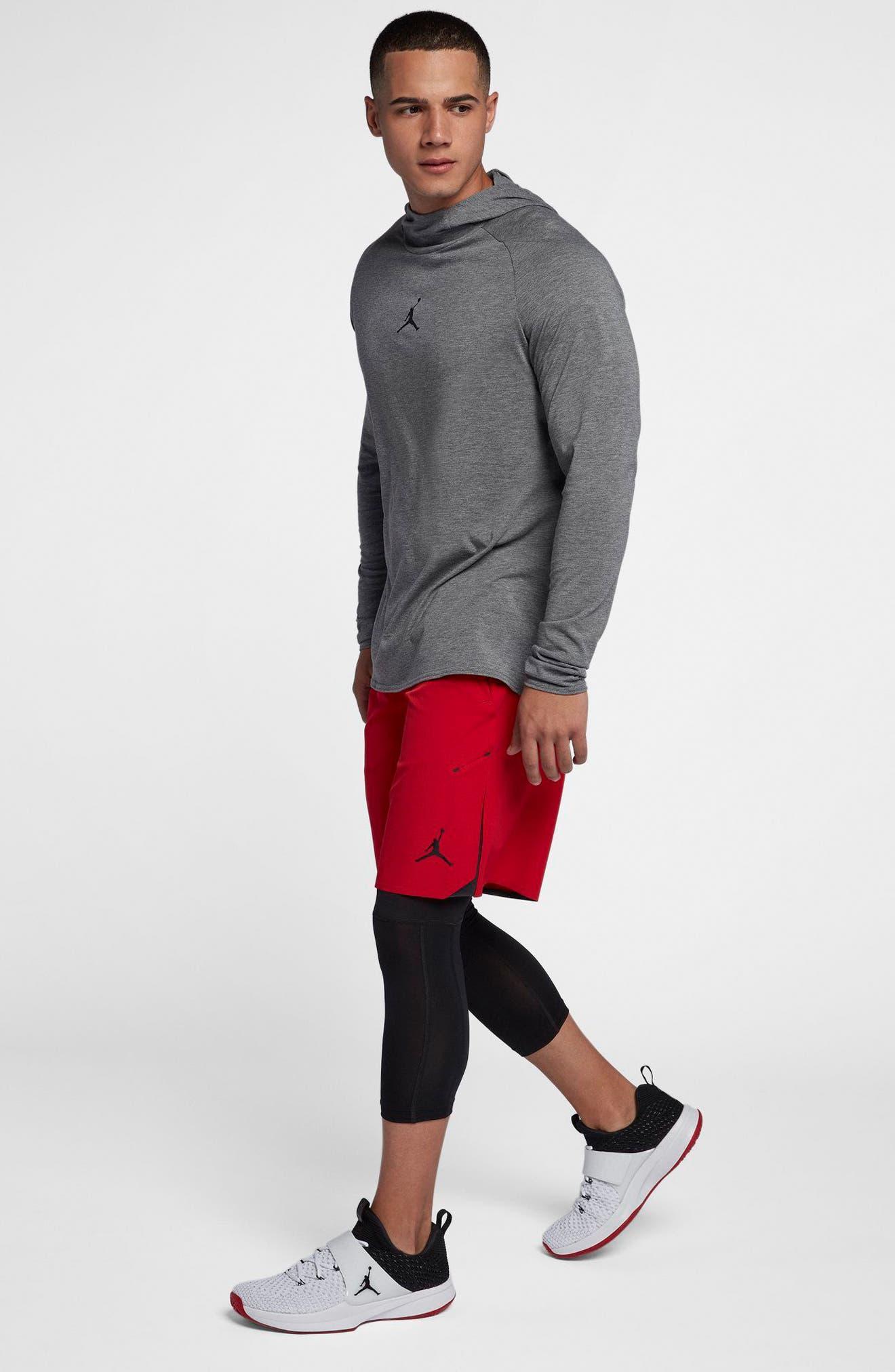 Nike Dry 23 Alpha Hooded Shirt,                             Alternate thumbnail 5, color,                             Carbon Heather/ Black