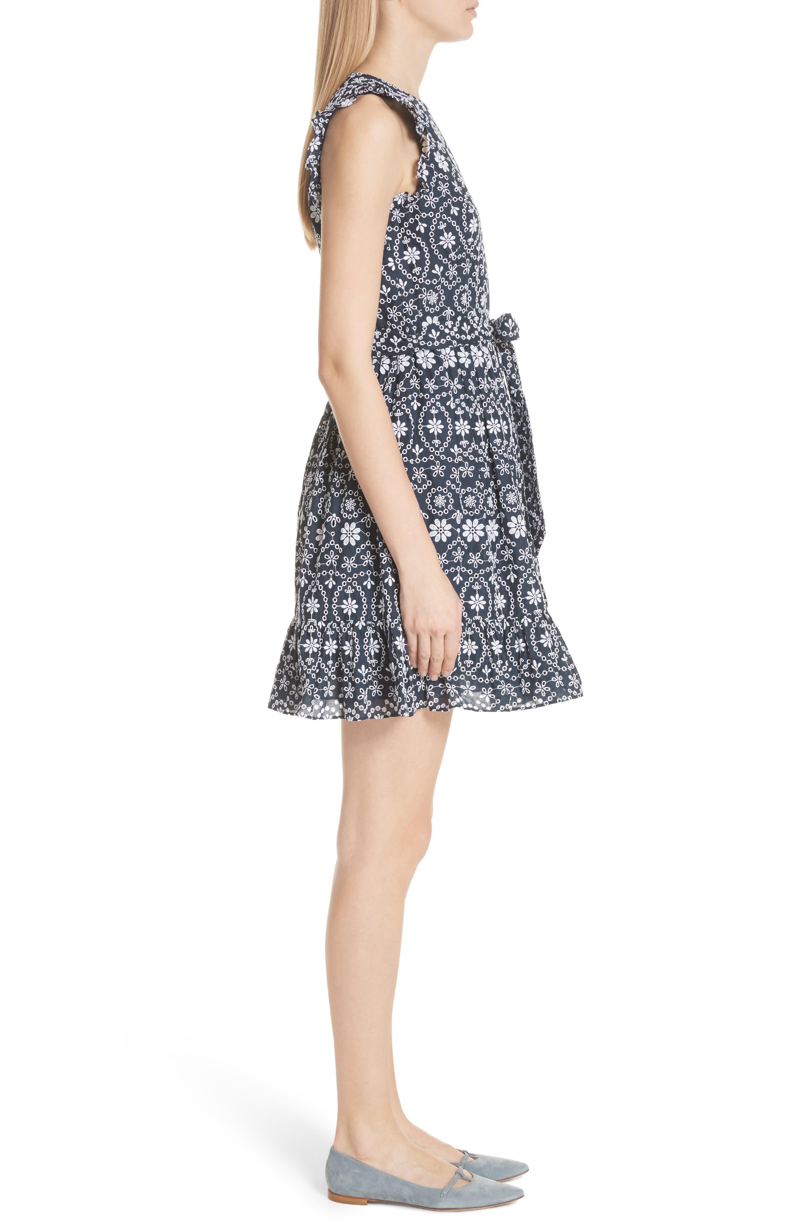 eyelet fit & flare dress,                             Alternate thumbnail 3, color,                             Rich Navy/ Fresh White
