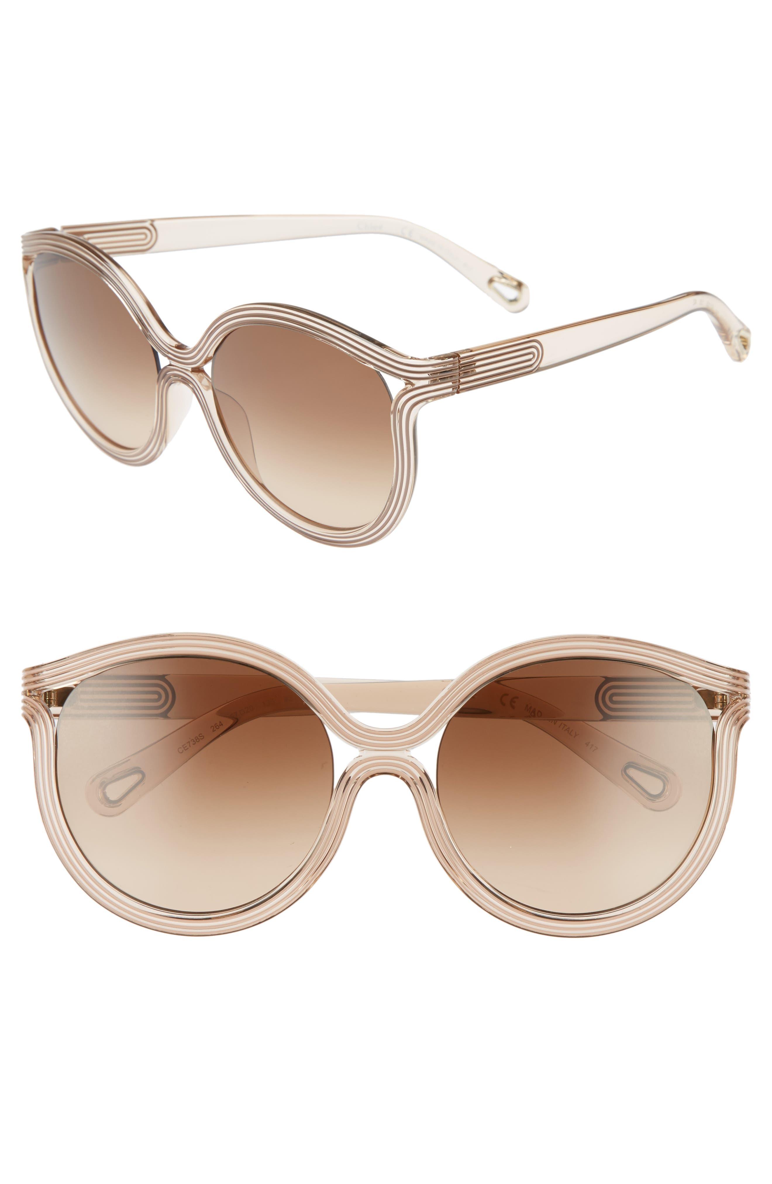 Grooves 57mm Cat Eye Sunglasses,                         Main,                         color, Beige