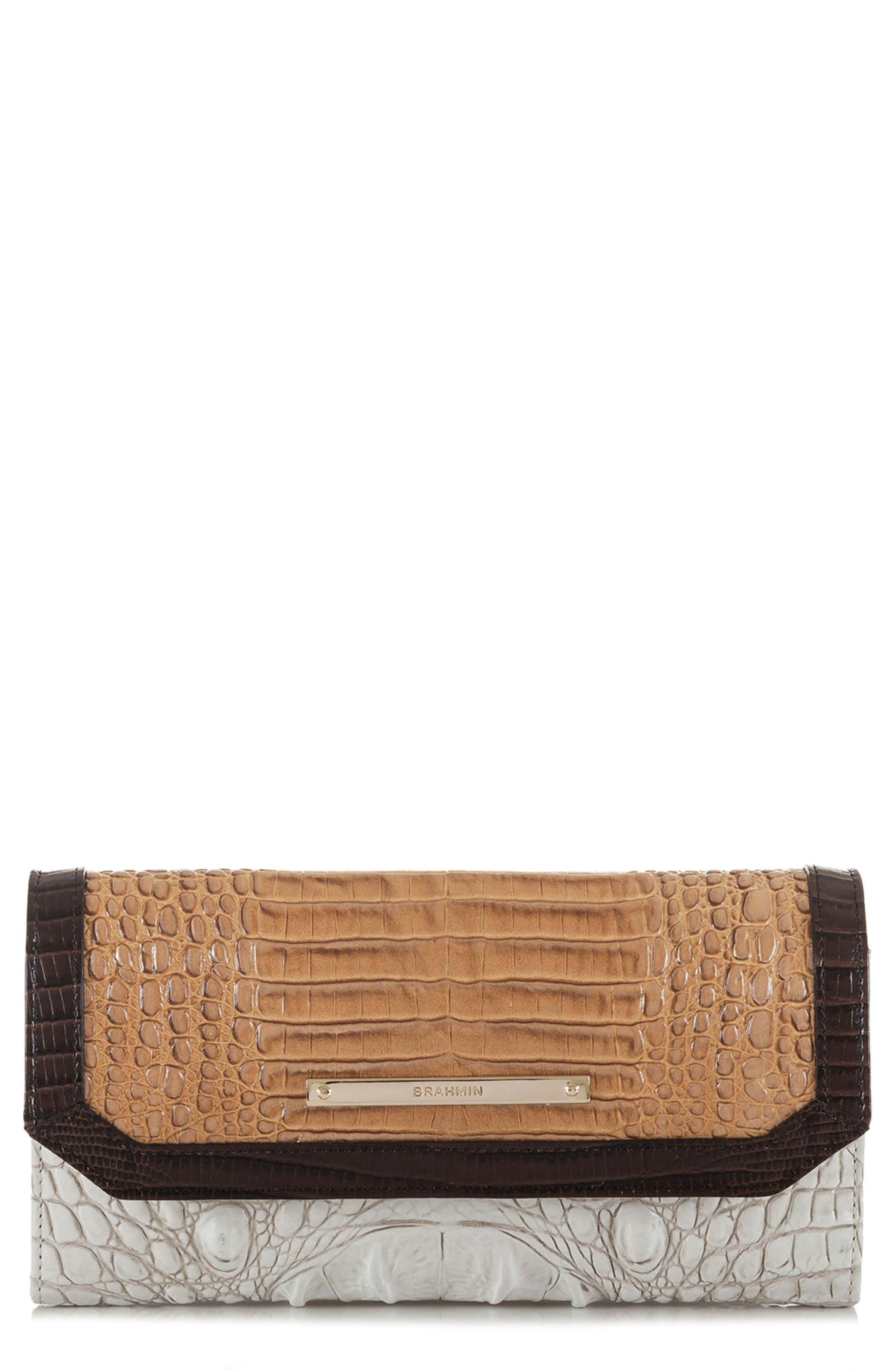 Brahmin Croc Embossed Leather Checkbook Wallet