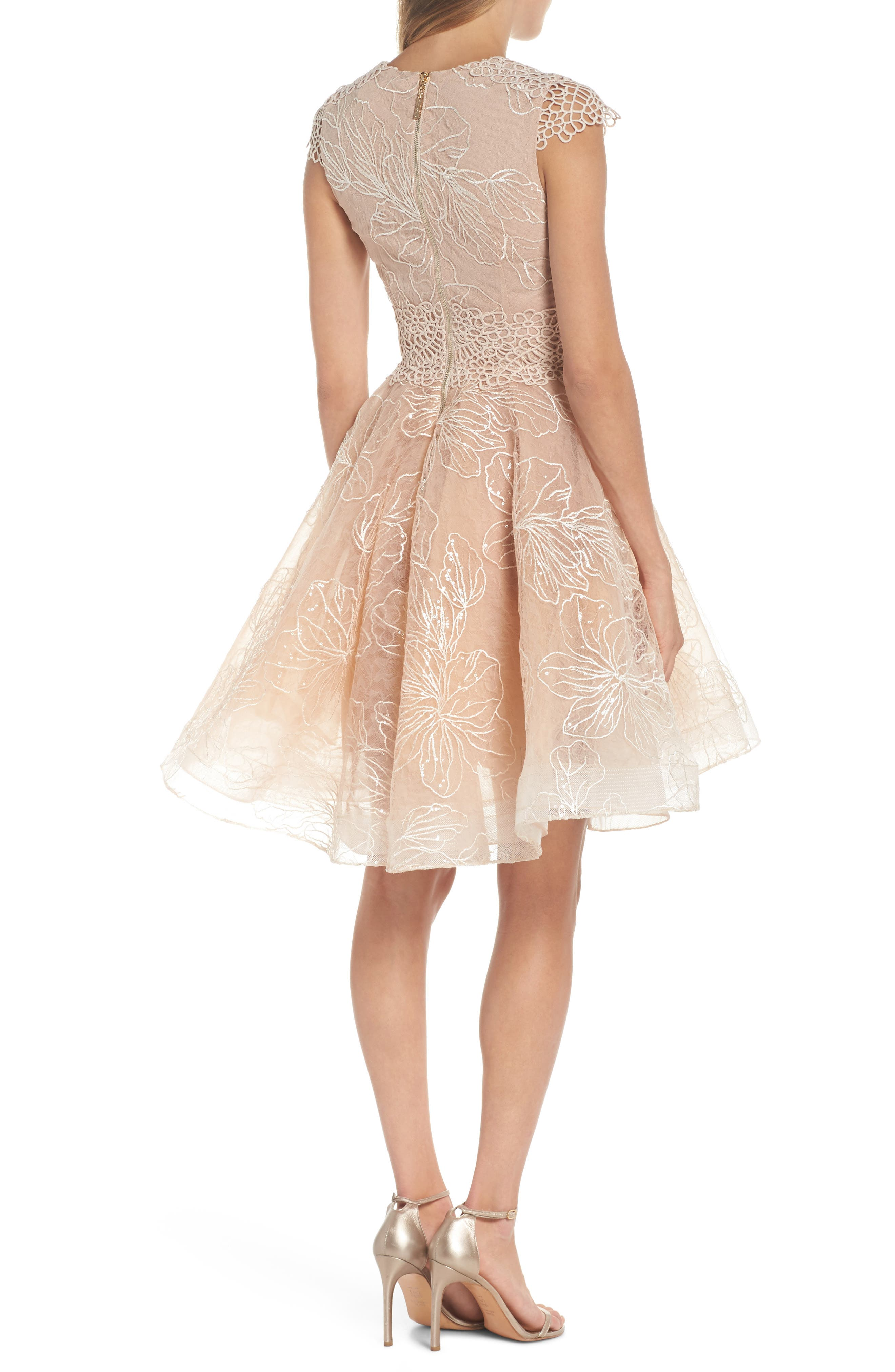 Fiore Sequin Fit & Flare Dress,                             Alternate thumbnail 2, color,                             Beige
