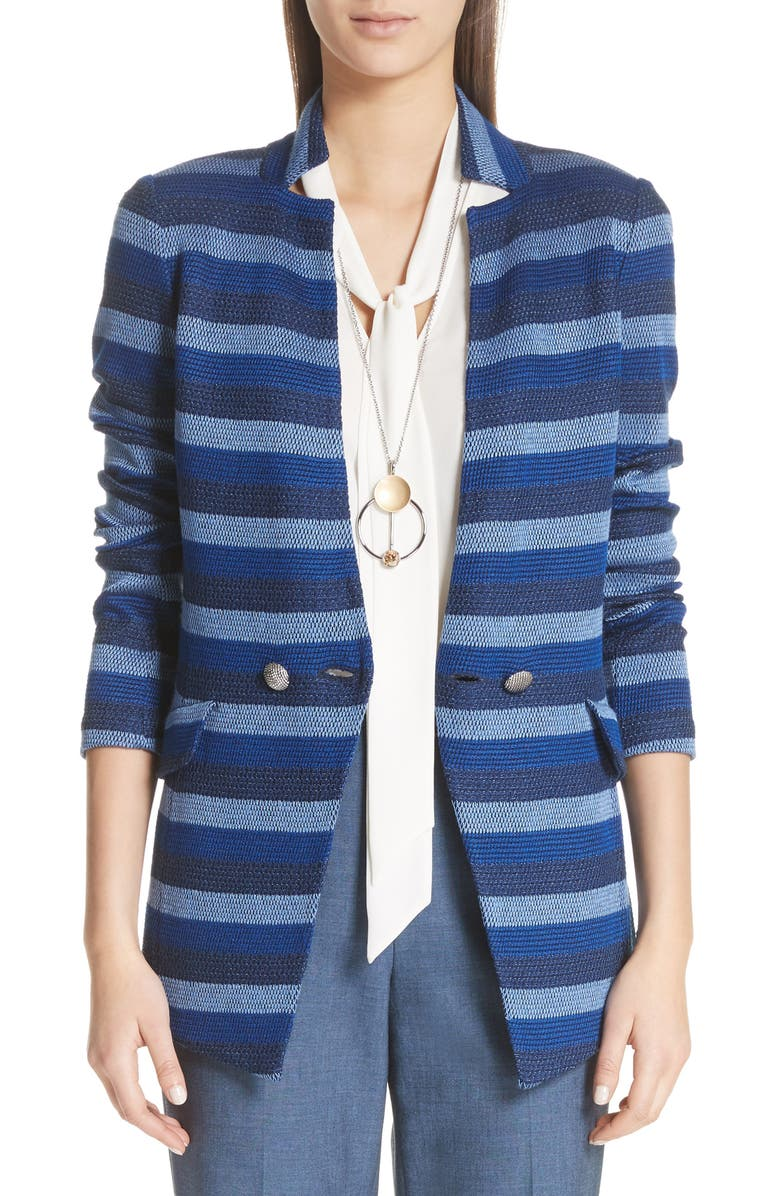 St. John Held Stitch Overlay Stripe Knit Jacket
