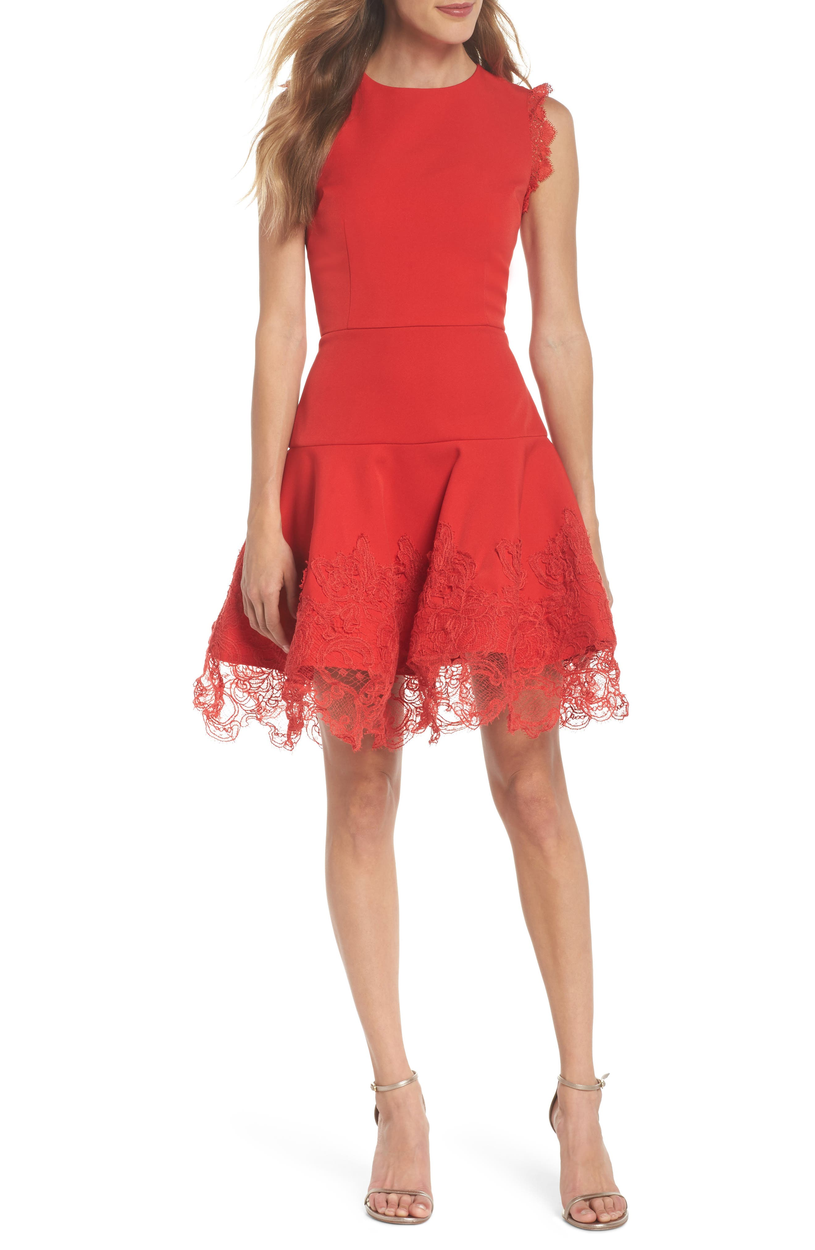 Antonia Fit & Flare Dress,                         Main,                         color, Red