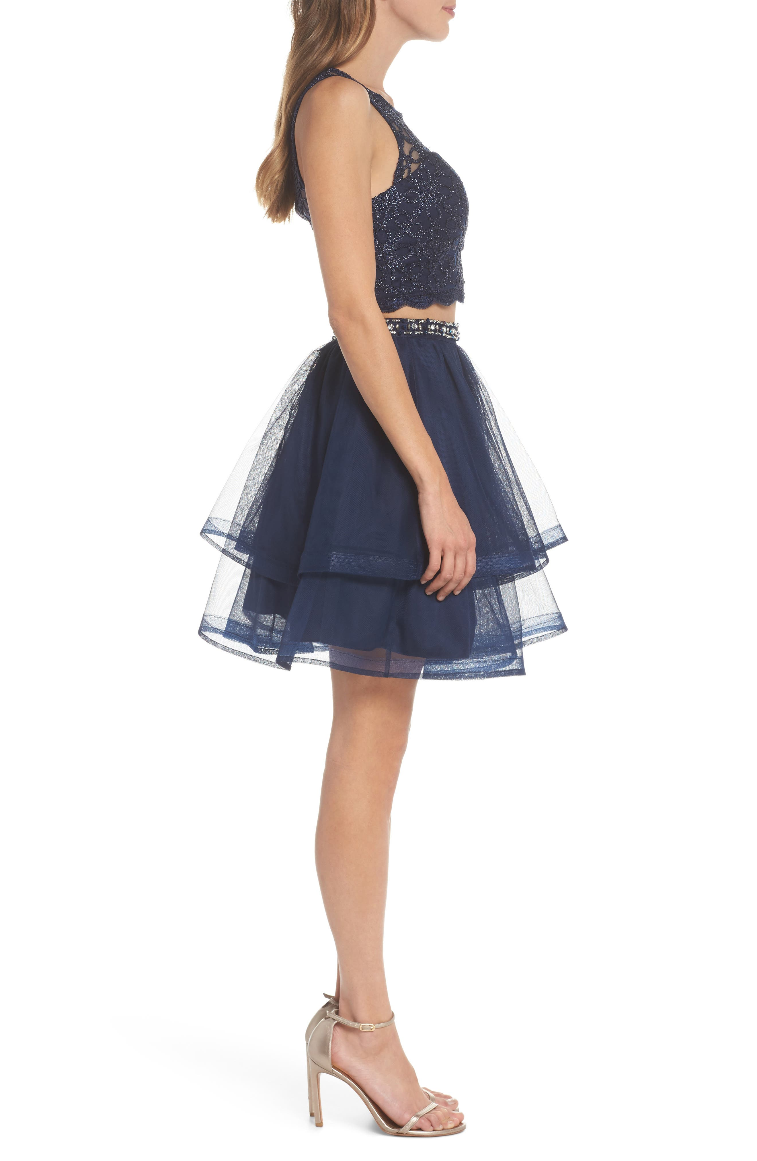 Chain Lace Mesh Two-Piece Dress,                             Alternate thumbnail 3, color,                             Navy