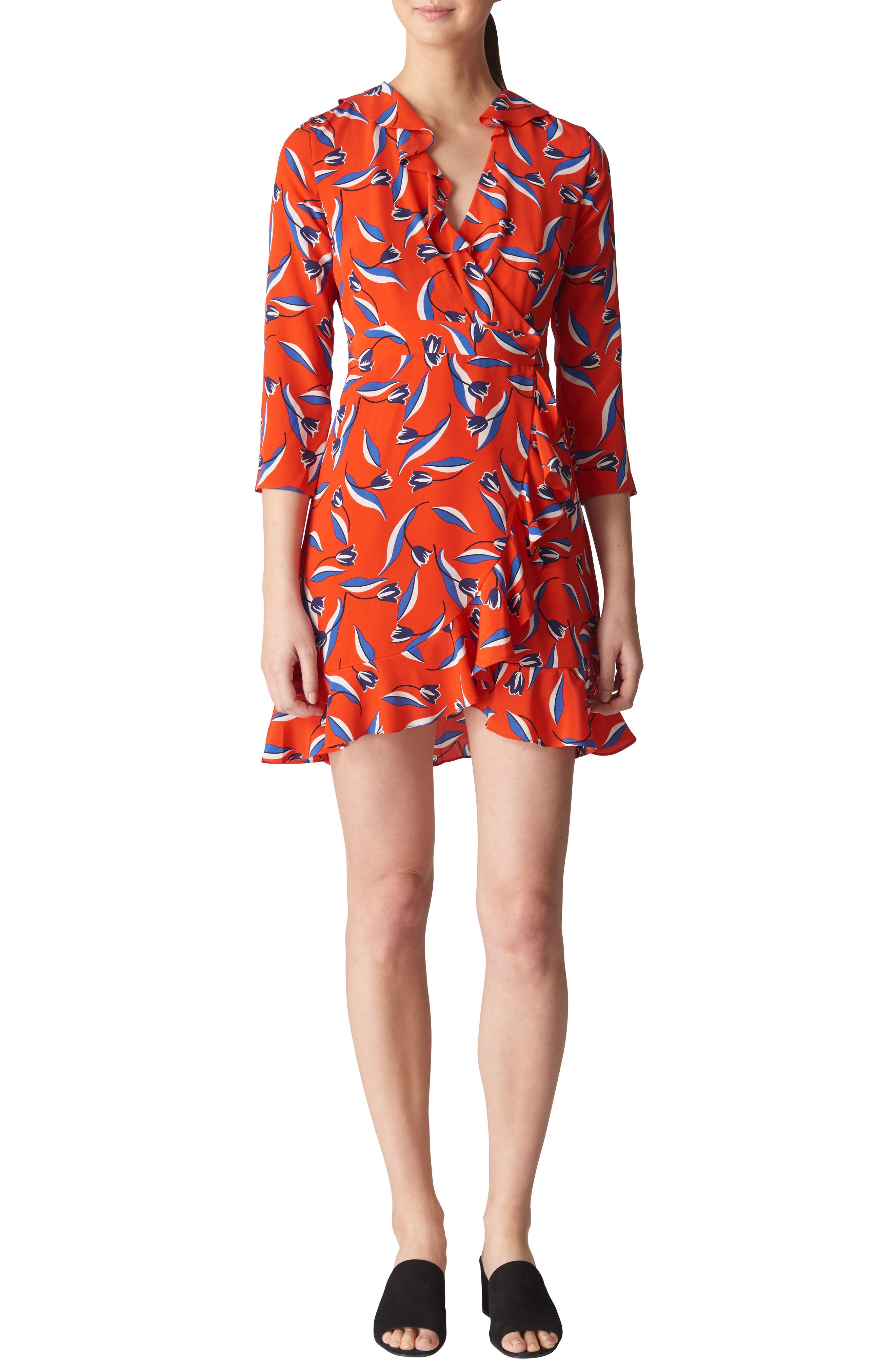 Mimi Frill Silk Wrap Dress,                         Main,                         color, Red/ Multi