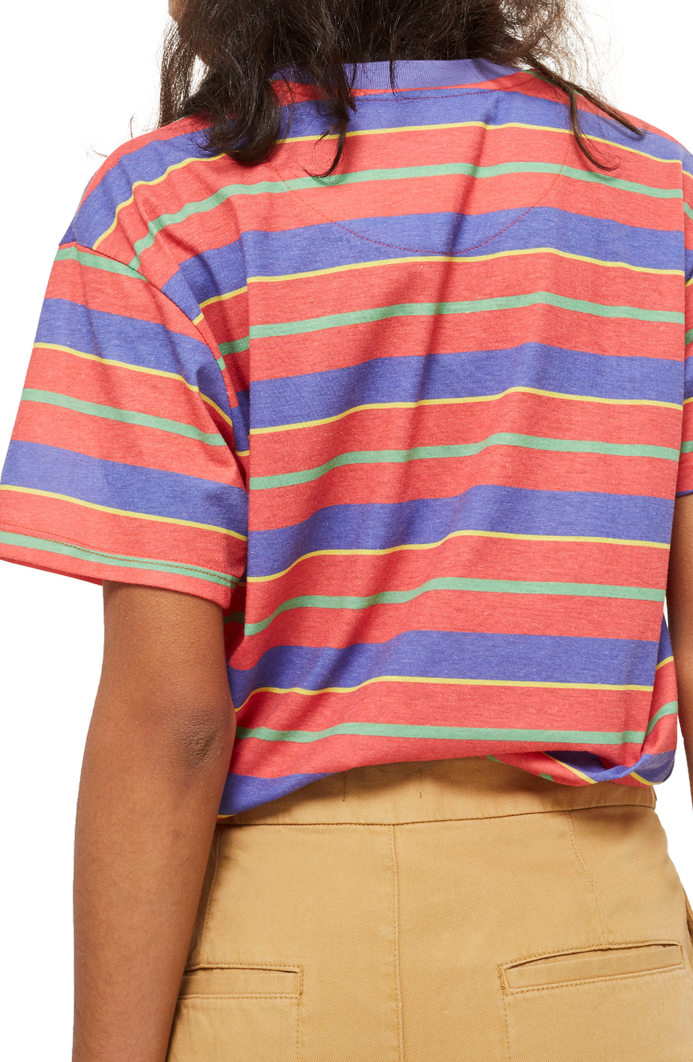 by Tee & Cake Happiness Stripe T-Shirt,                             Alternate thumbnail 3, color,                             Orange Multi