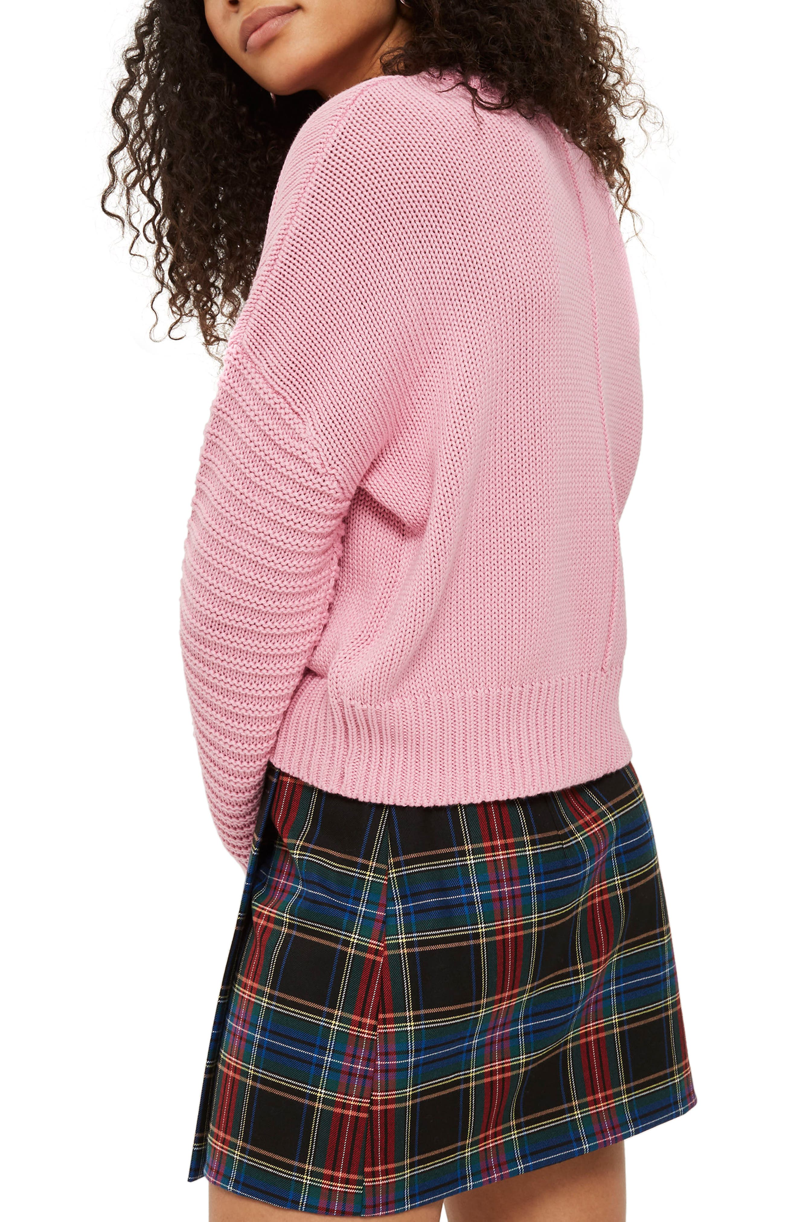 Stitch Detail Sleeve Sweater,                             Alternate thumbnail 3, color,                             Pink