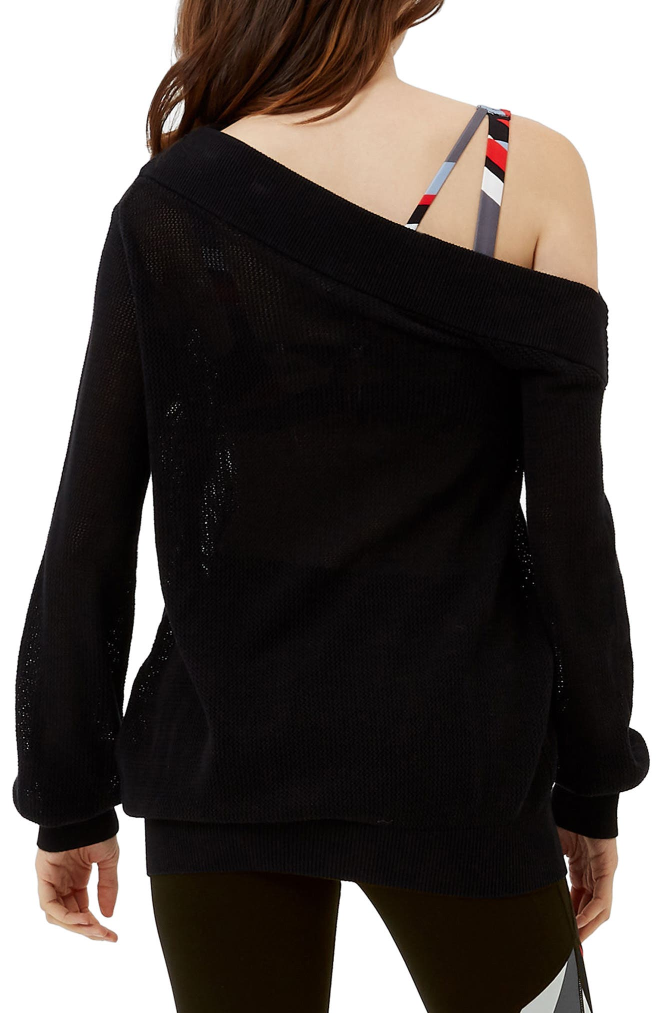 Sweat Betty Enliven One-Shoulder Sweater,                             Alternate thumbnail 2, color,                             Black