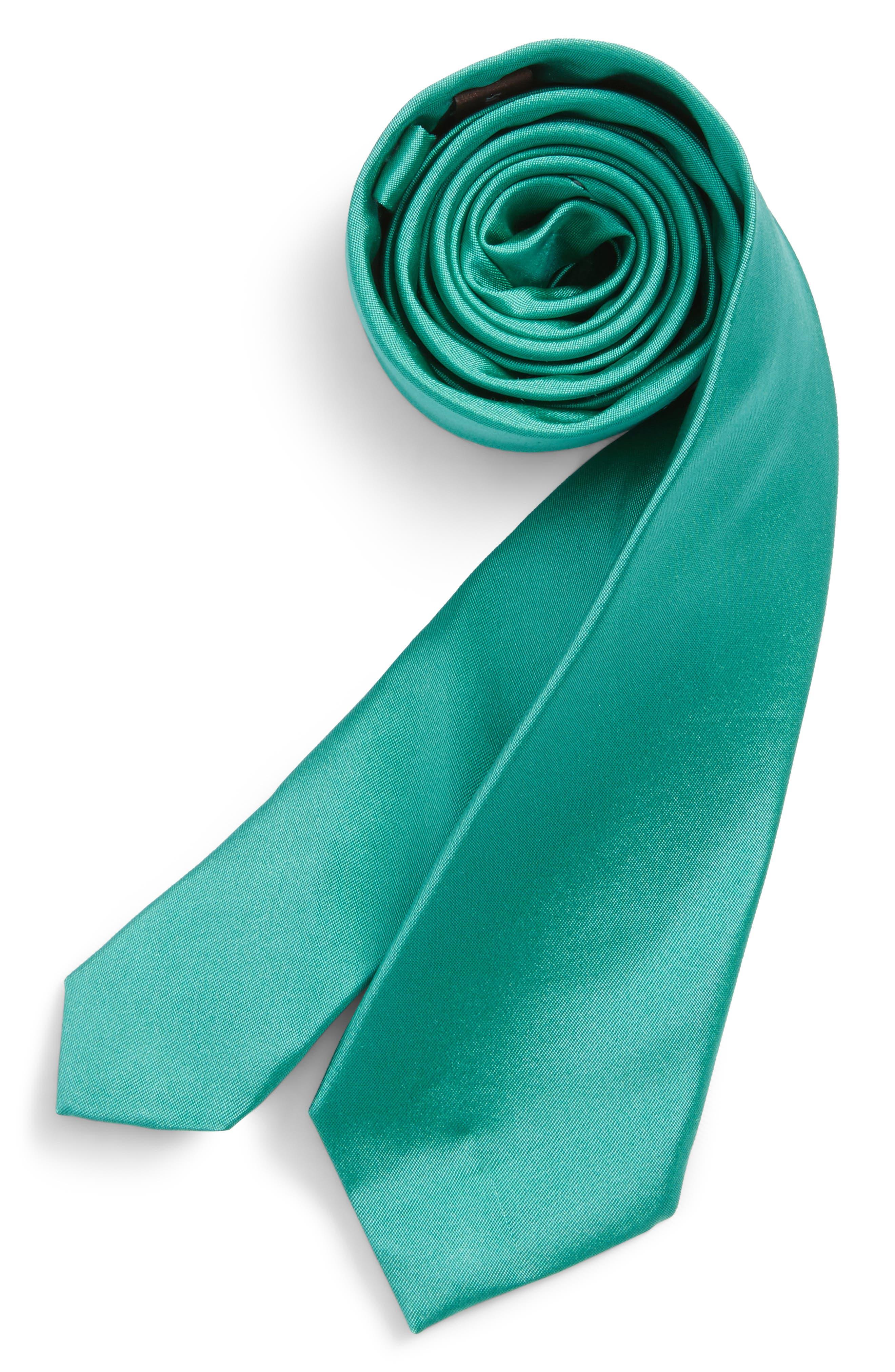 Solid Silk Tie,                         Main,                         color, Emerald