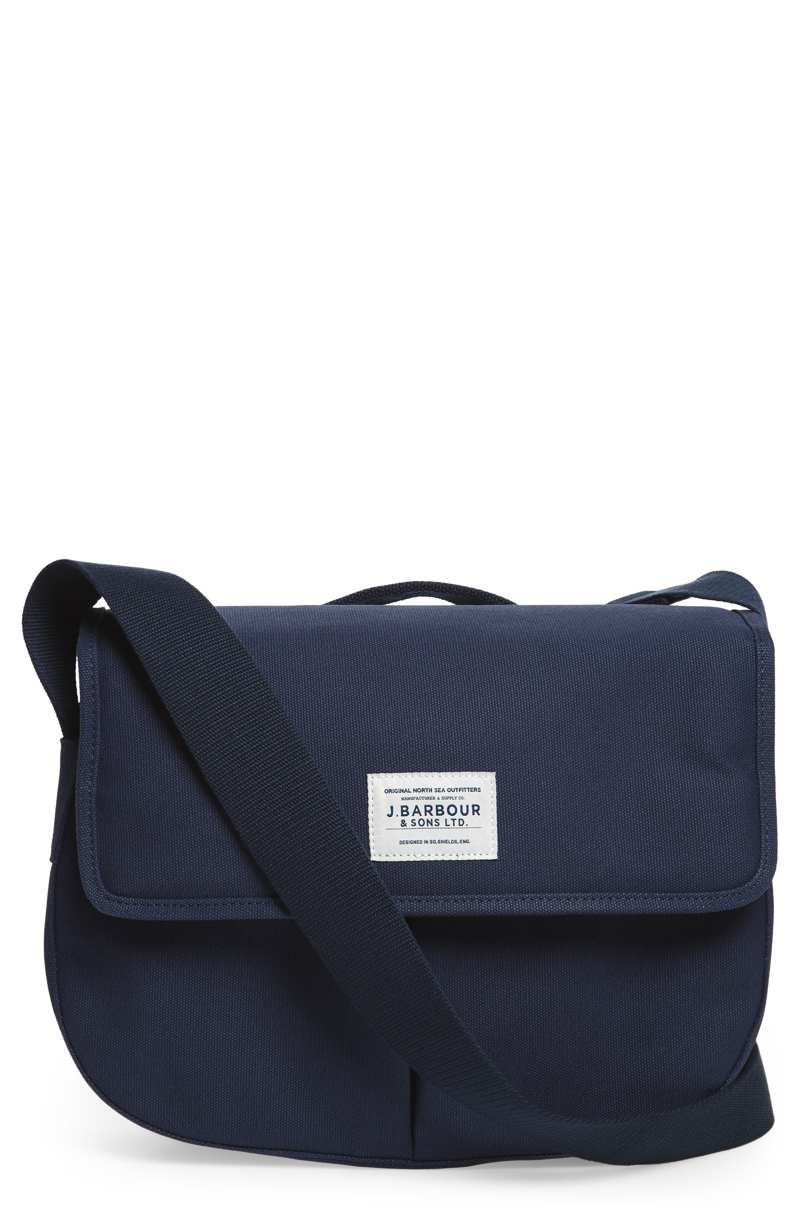 Barbour Tarras Canvas Messenger Bag Blue In Navy