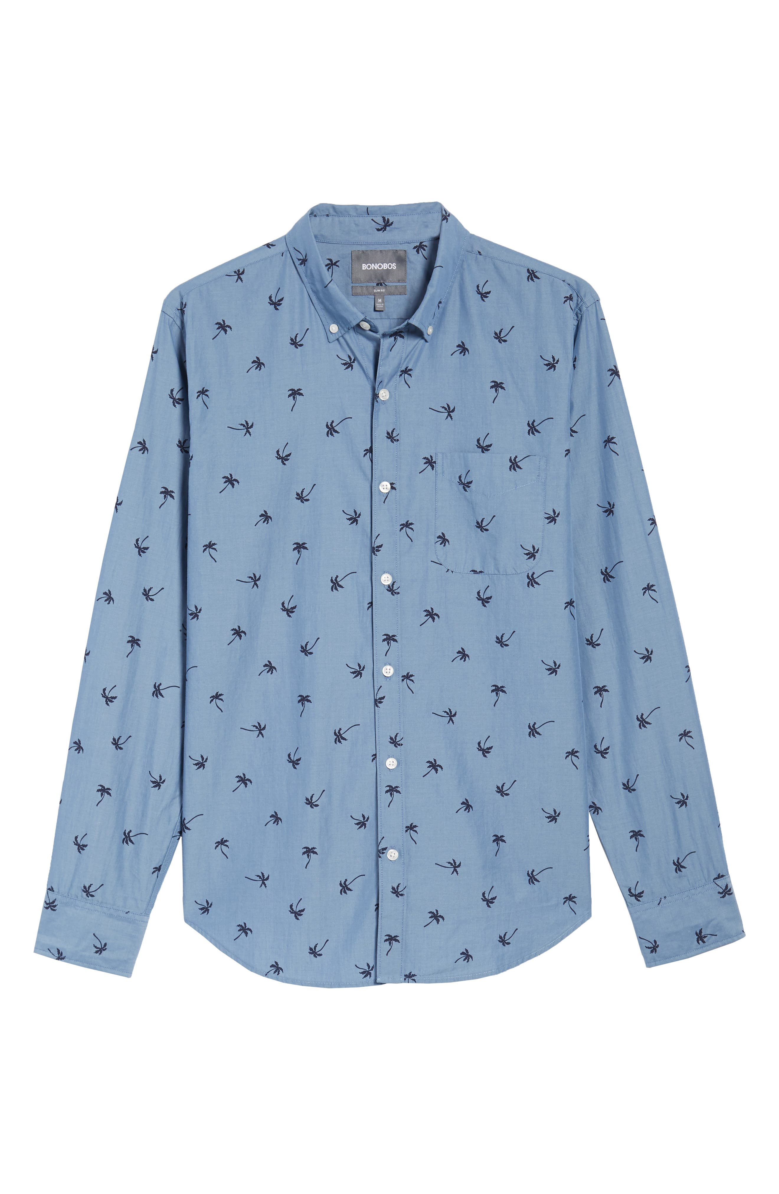 Slim Fit Print Sport Shirt,                             Alternate thumbnail 6, color,                             Single Palm - Maritime Blue
