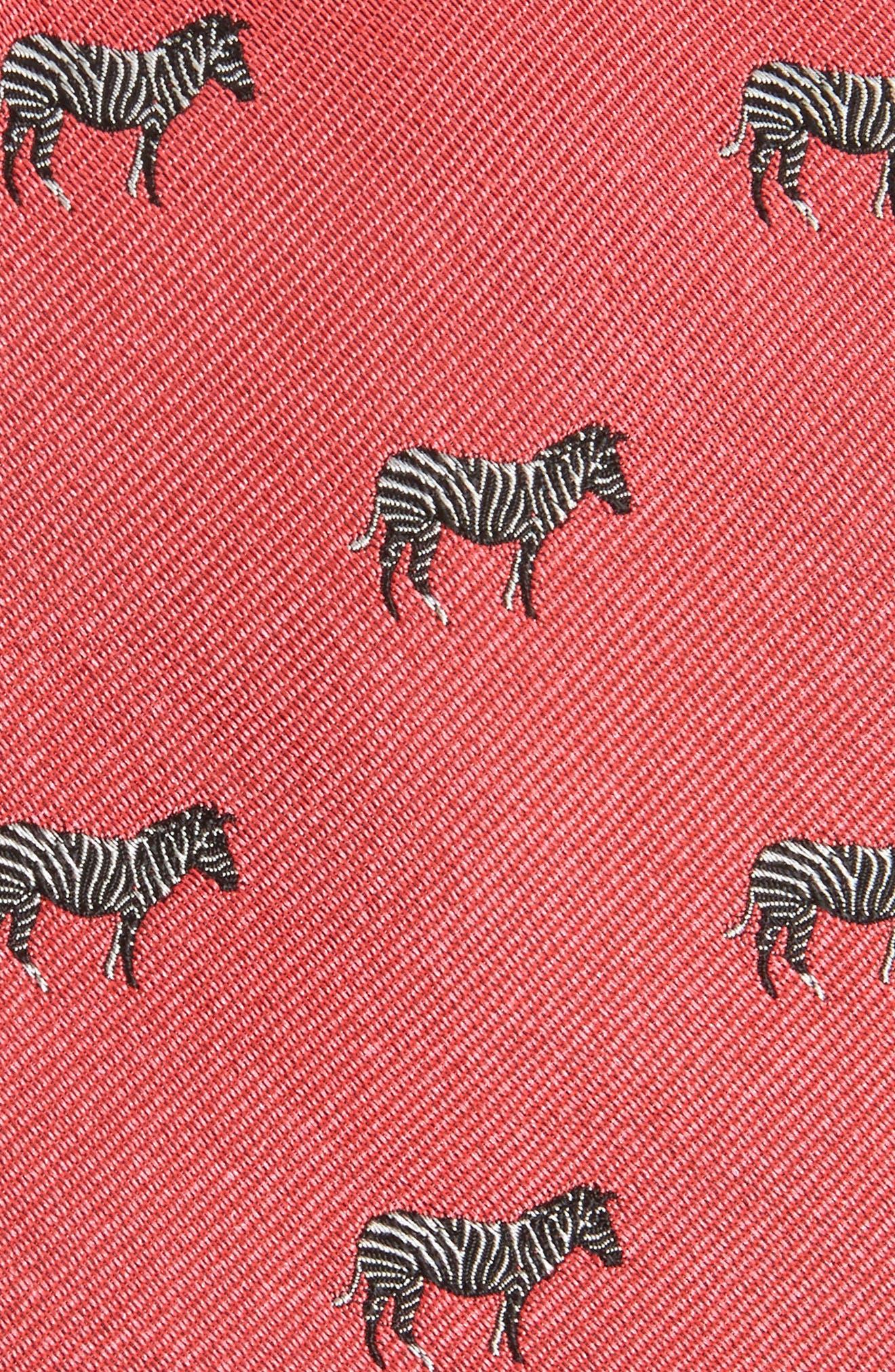 Zebra Dazzle Print Silk Tie,                             Alternate thumbnail 2, color,                             Lifeguard Red