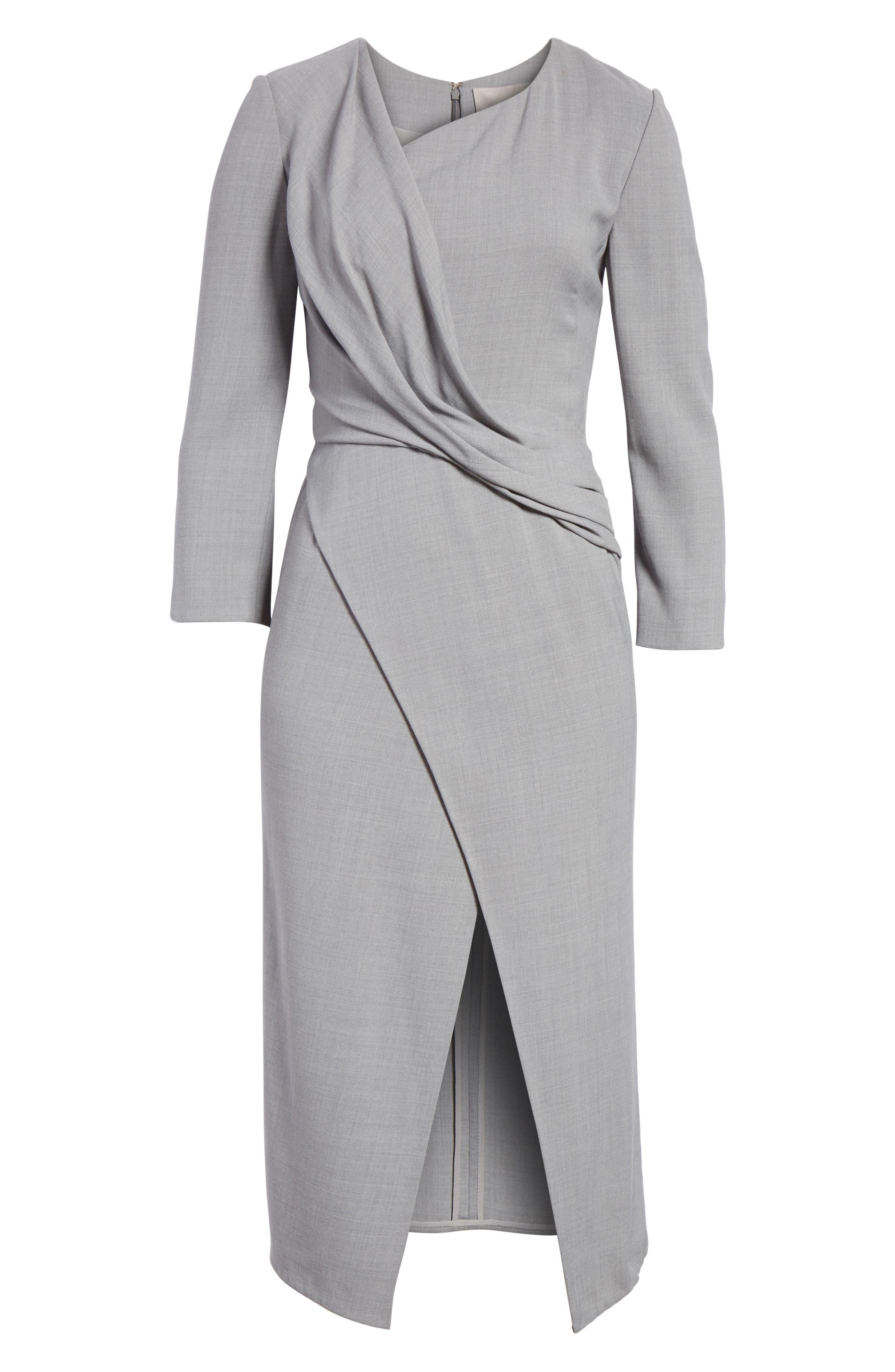 Wrap Panel Envelope Hem Dress,                             Alternate thumbnail 7, color,                             Light Grey Melange