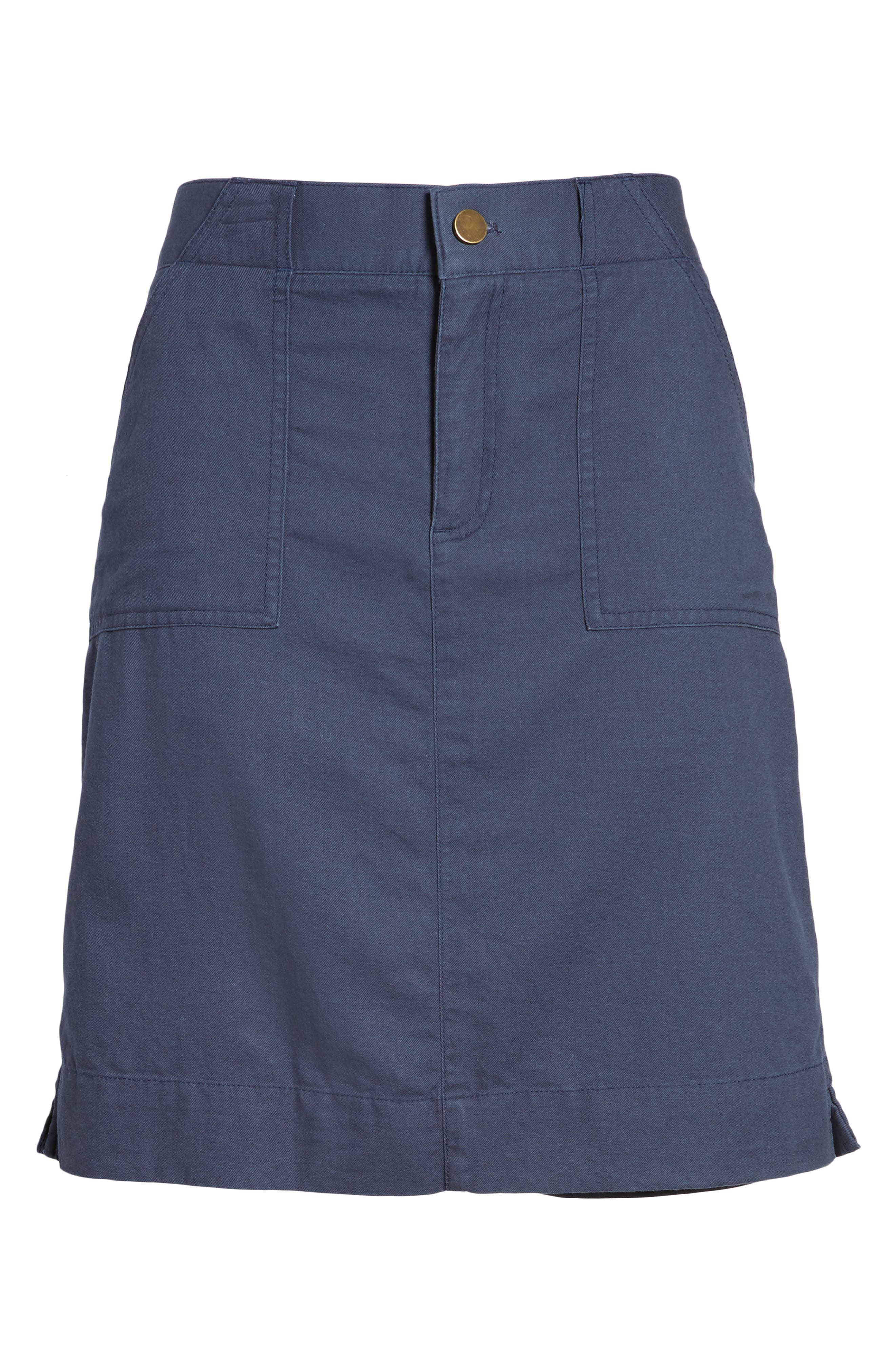 Twill Utility Skirt,                             Alternate thumbnail 6, color,                             Navy Indigo
