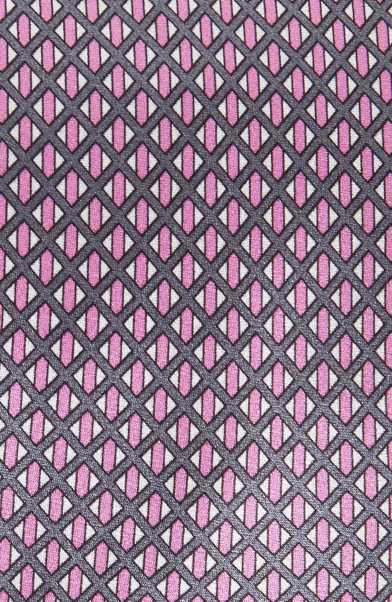 Neat Geometric Silk Tie,                             Alternate thumbnail 2, color,                             Violet/ Grey