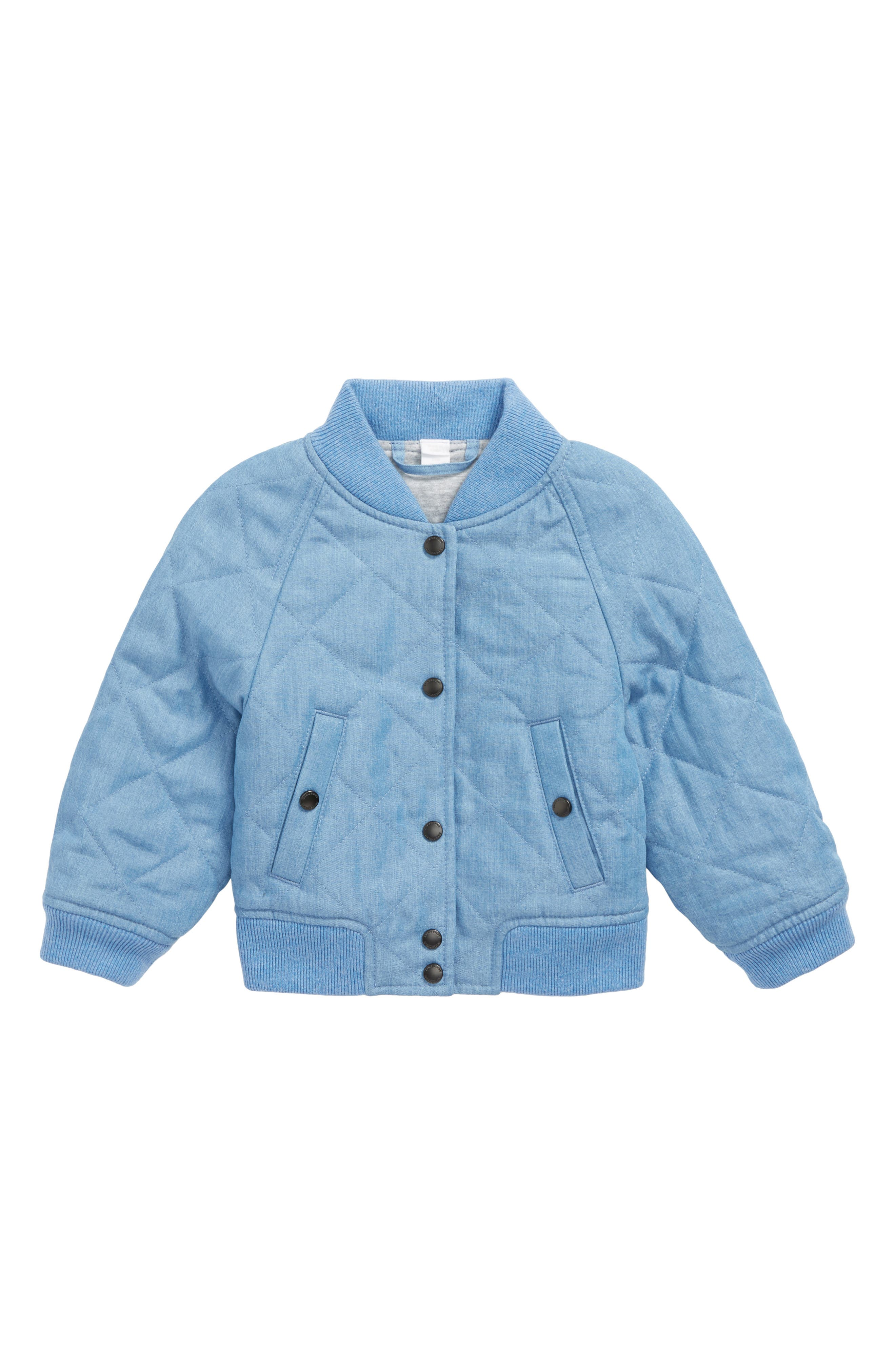 Joelle Denim Quilted Bomber Jacket,                             Main thumbnail 1, color,                             Steel Blue
