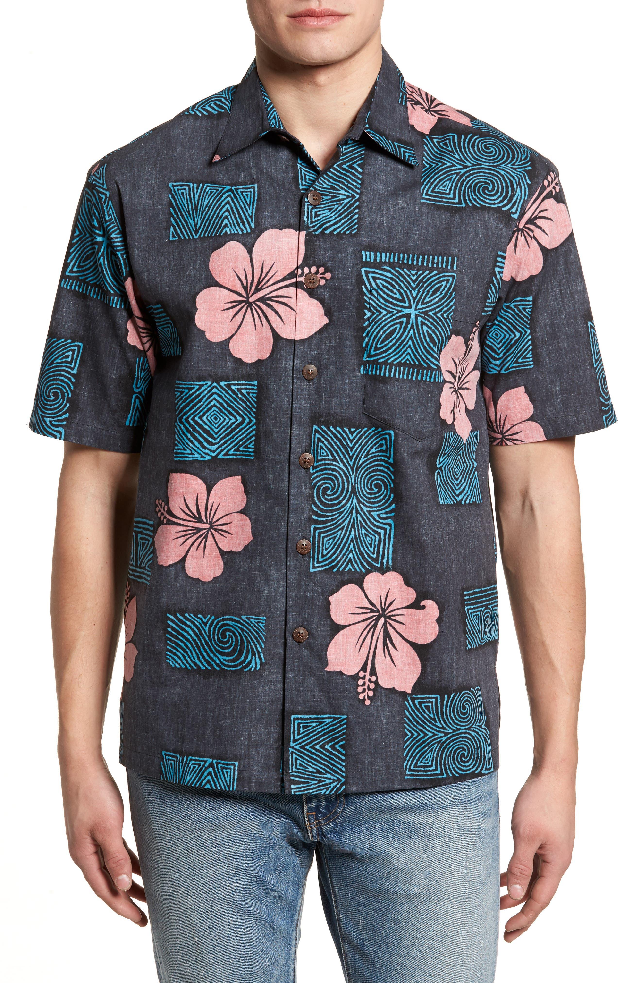 Tiki Room Standard Fit Camp Shirt,                         Main,                         color, Black