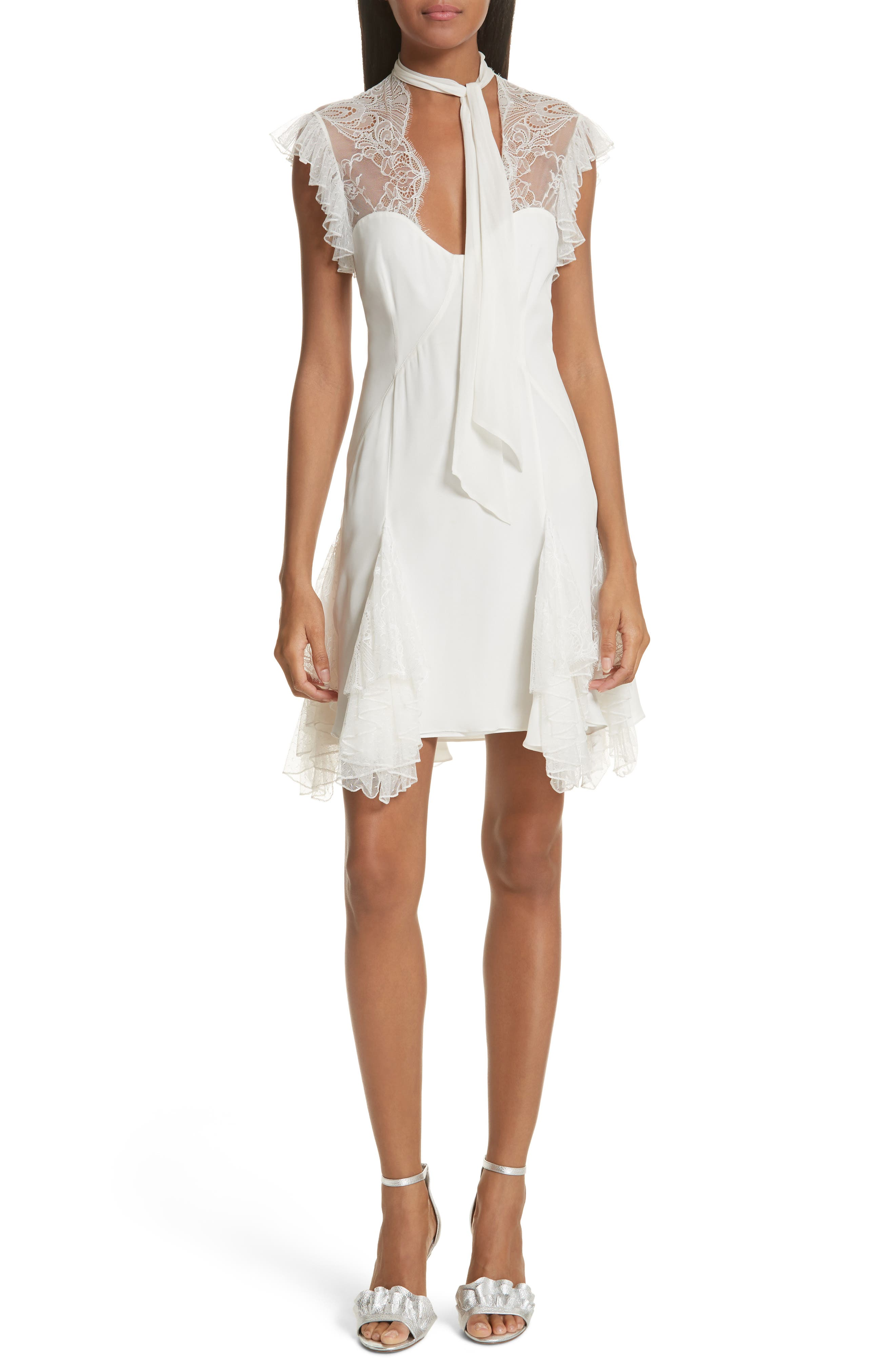 Clotilde Lace Trim Silk Dress with Scarf,                             Main thumbnail 1, color,                             Ivory