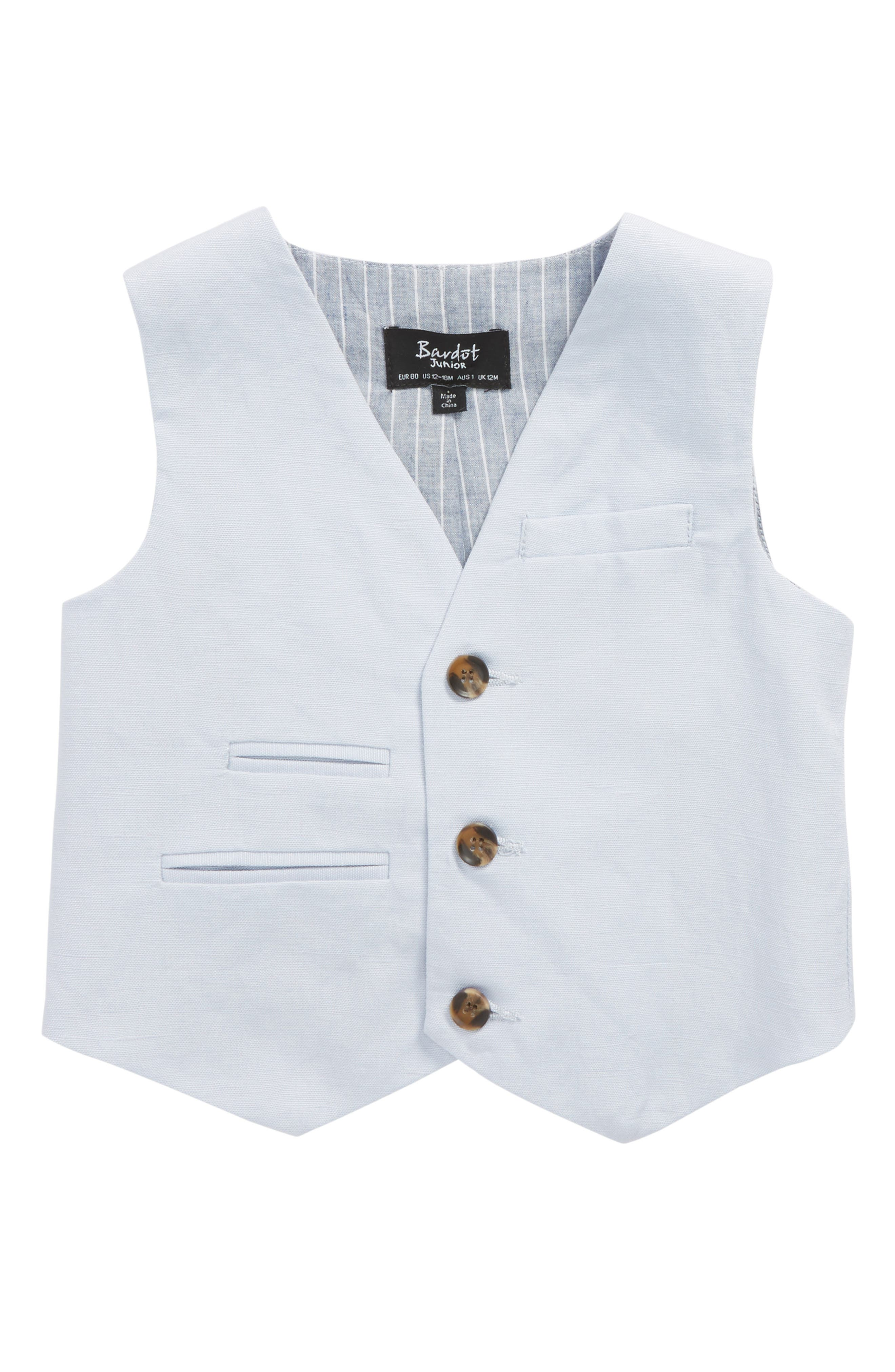 Alternate Image 1 Selected - Bardot Junior Miles Linen Vest (Baby Boys)