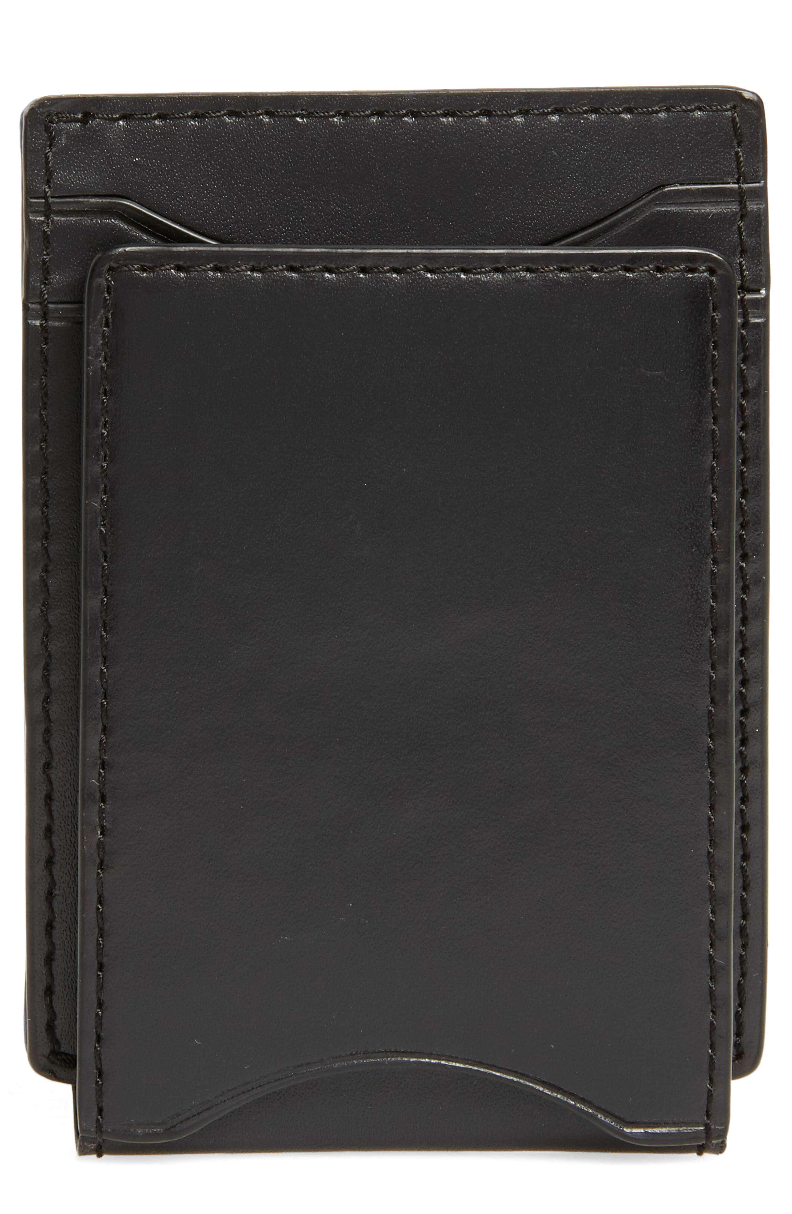 Flap ID Leather Card Case,                         Main,                         color, Black