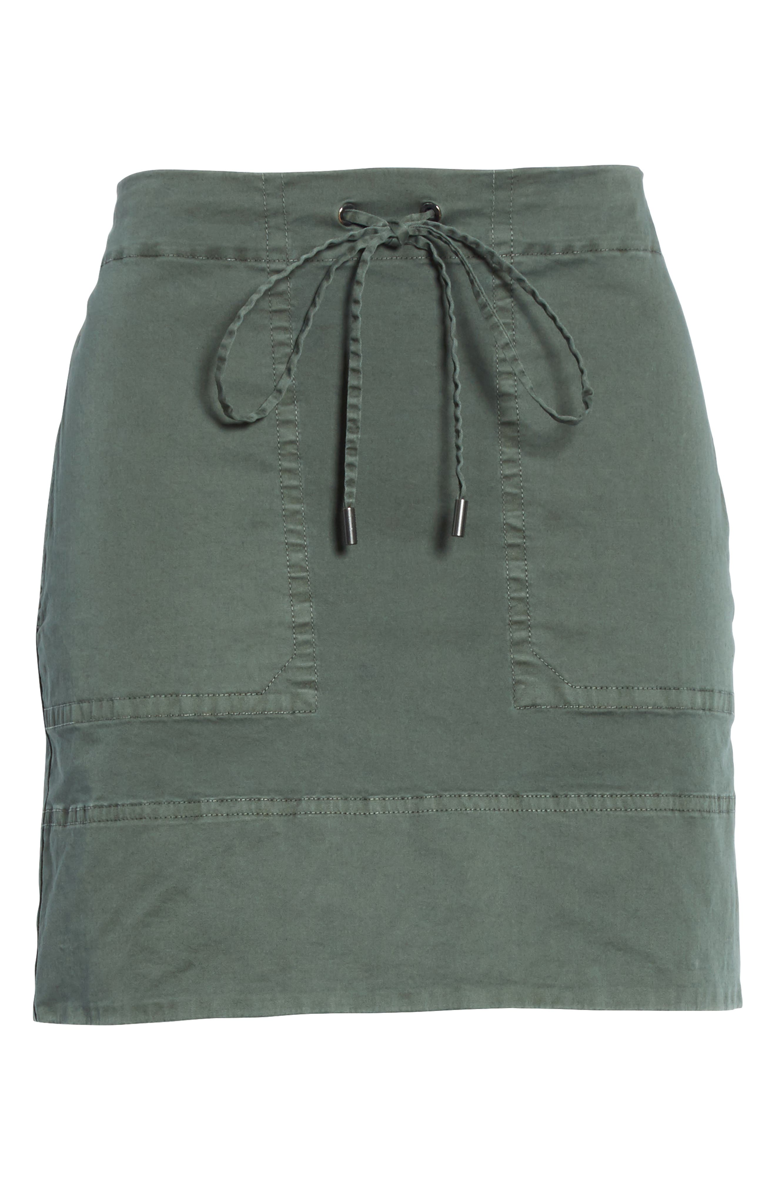 Stretch Cotton Drawstring Miniskirt,                             Alternate thumbnail 6, color,                             Spanish Green