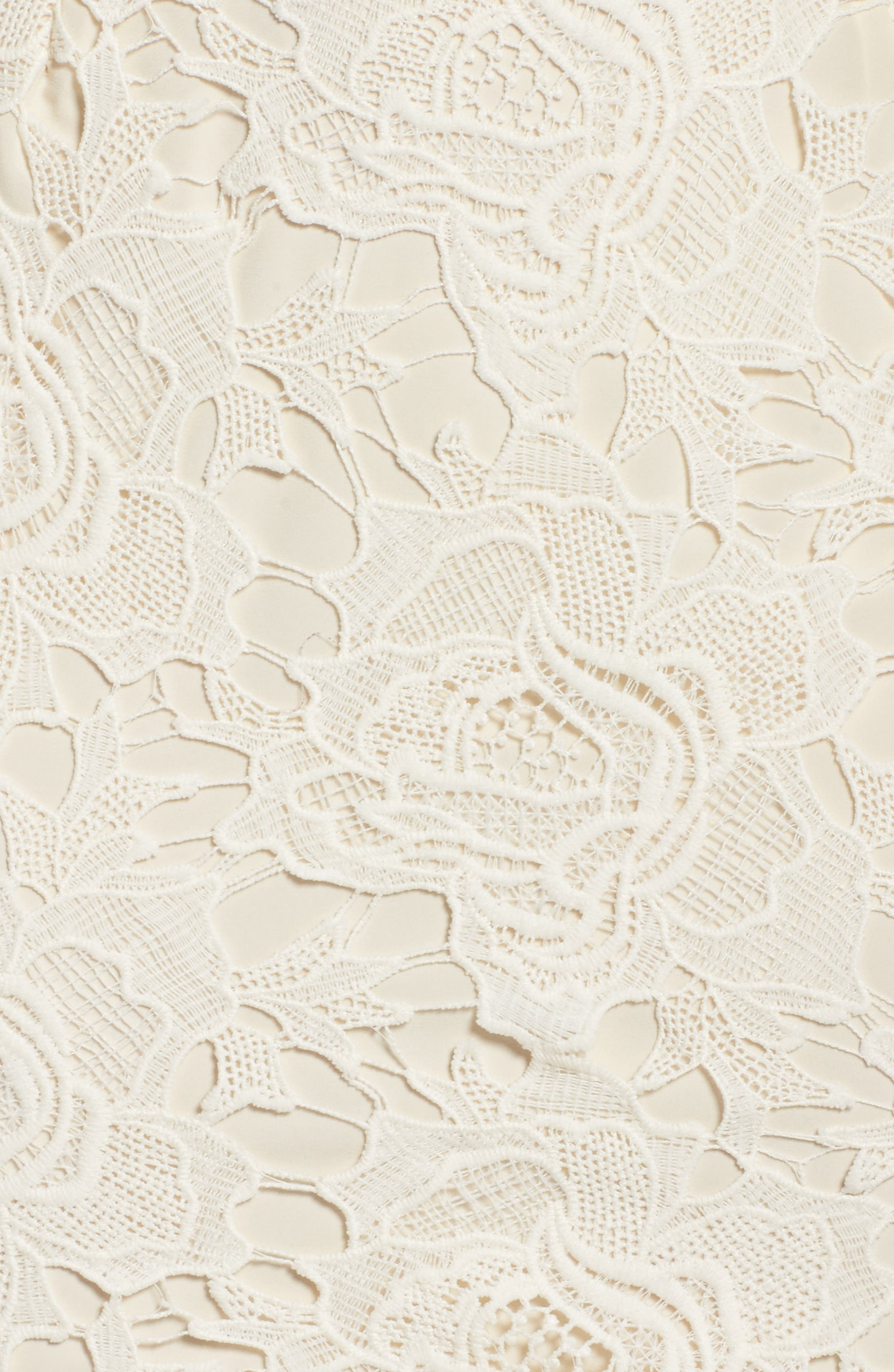 Lustrous Lace Sheath Dress,                             Alternate thumbnail 6, color,                             Coconut Milk