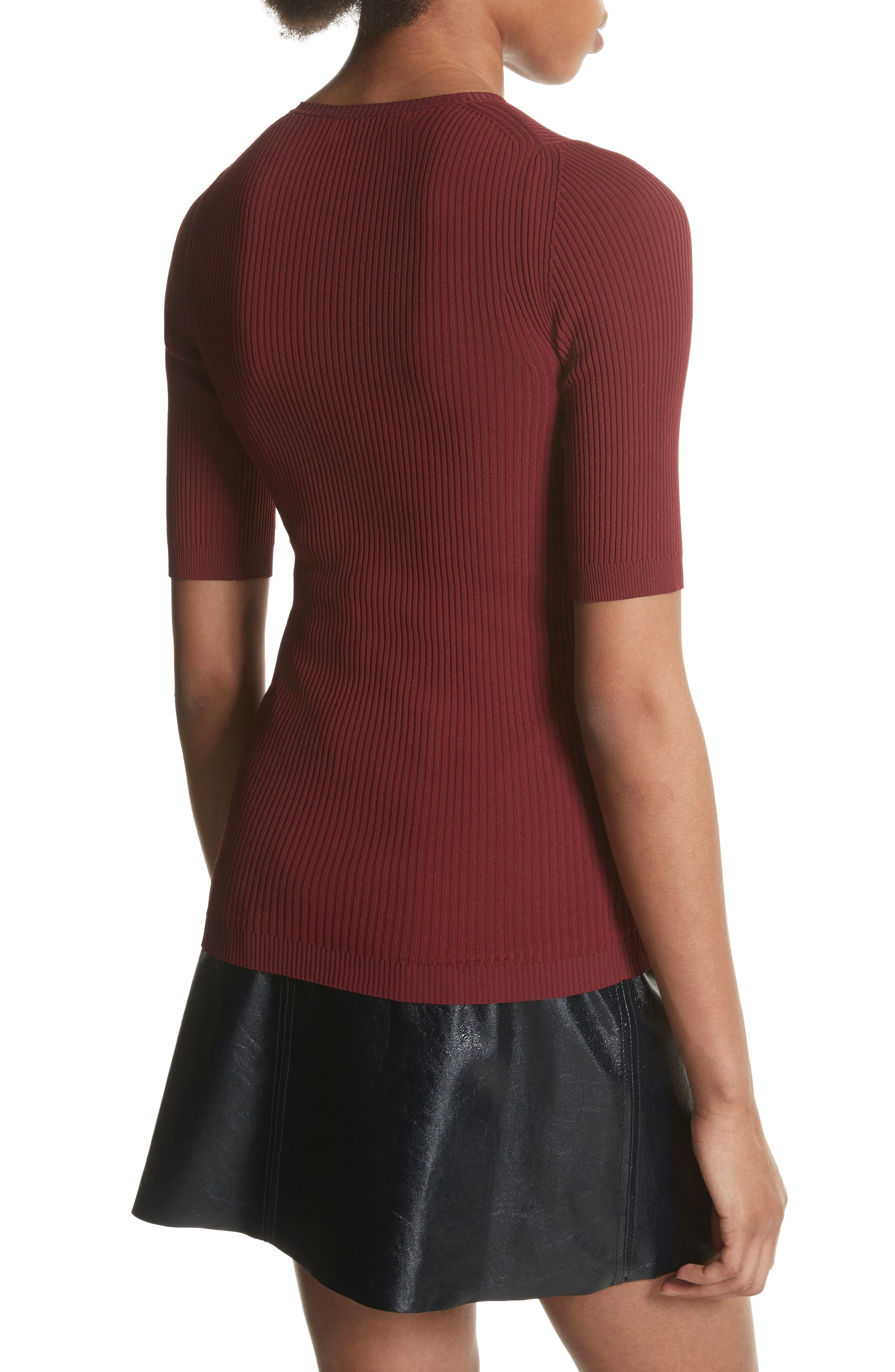 Ribbed Crewneck Top,                             Alternate thumbnail 2, color,                             Deep Brick