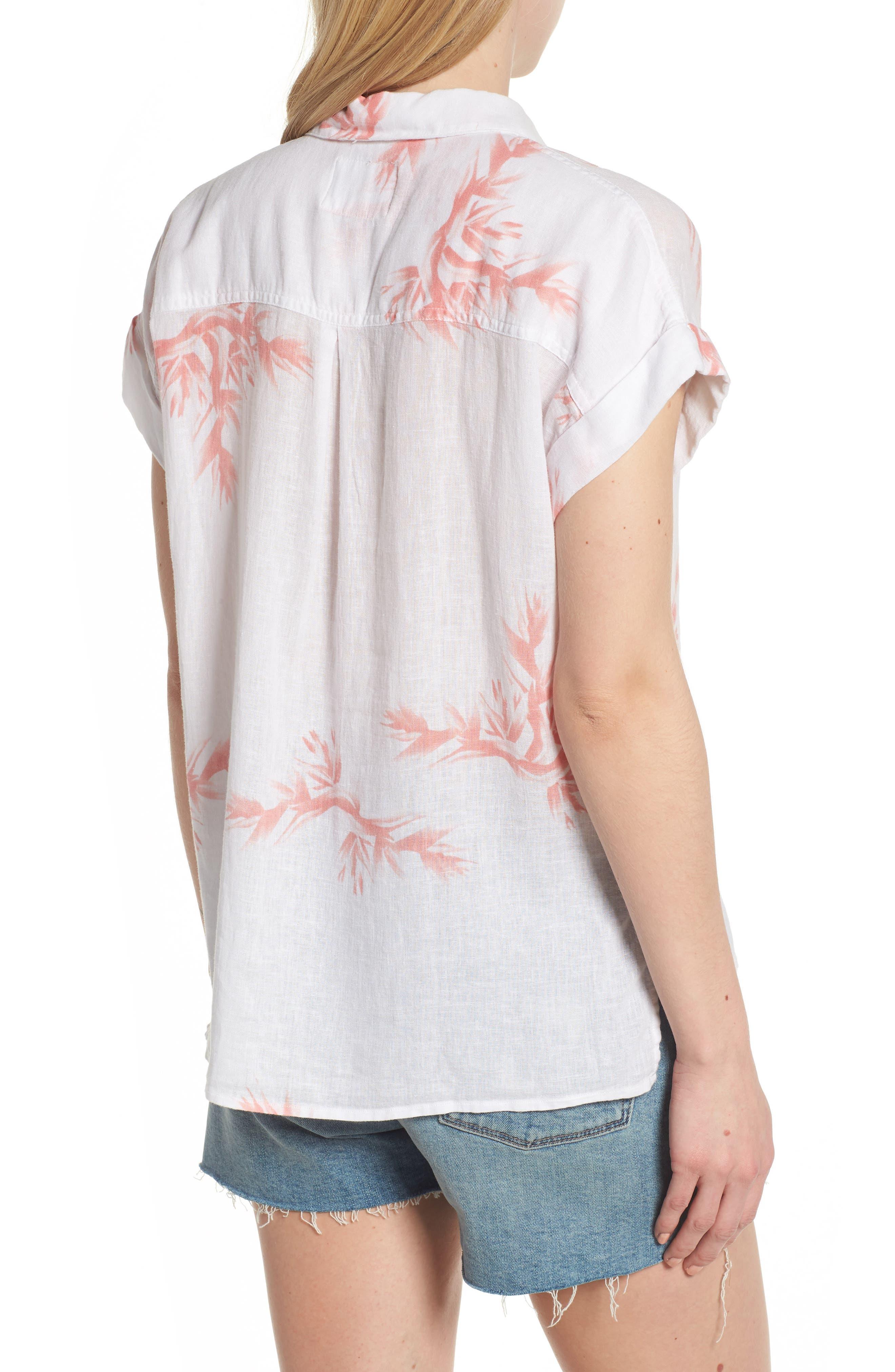Whitney Birds of Paradise Linen Blend Shirt,                             Alternate thumbnail 2, color,                             Blush Birds Of Paradise