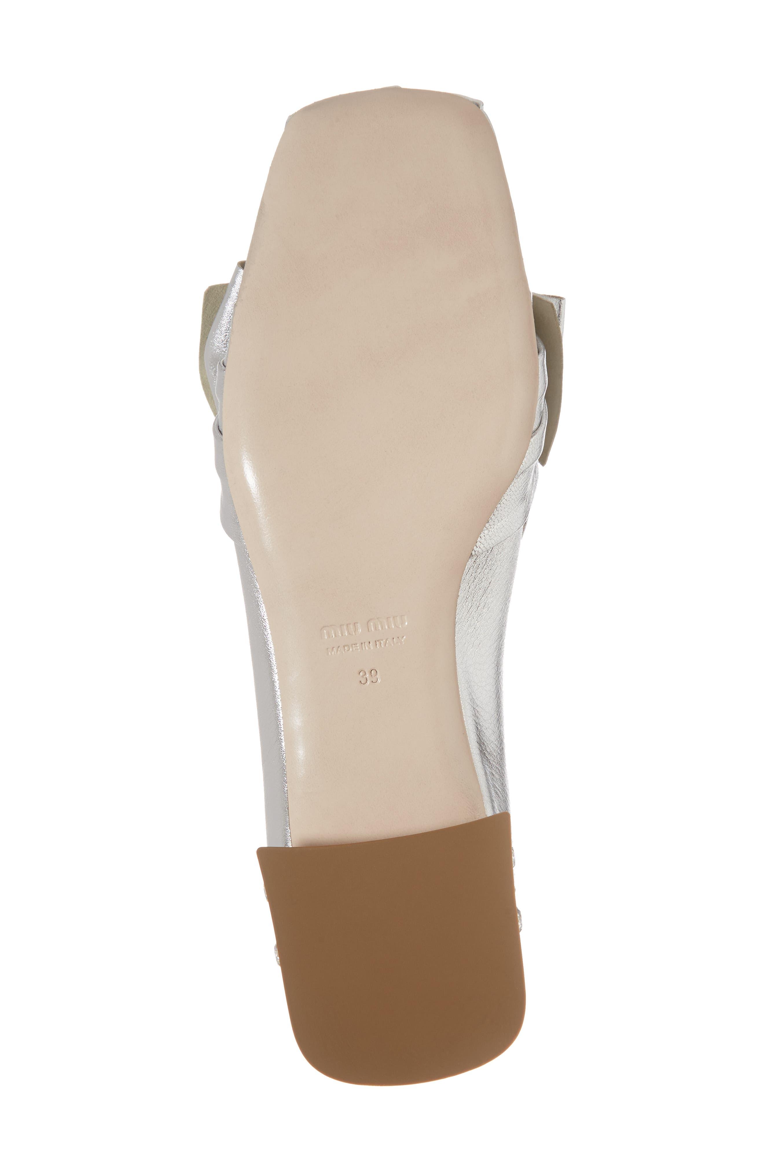 Embellished Heel Bow Loafer,                             Alternate thumbnail 6, color,                             Silver