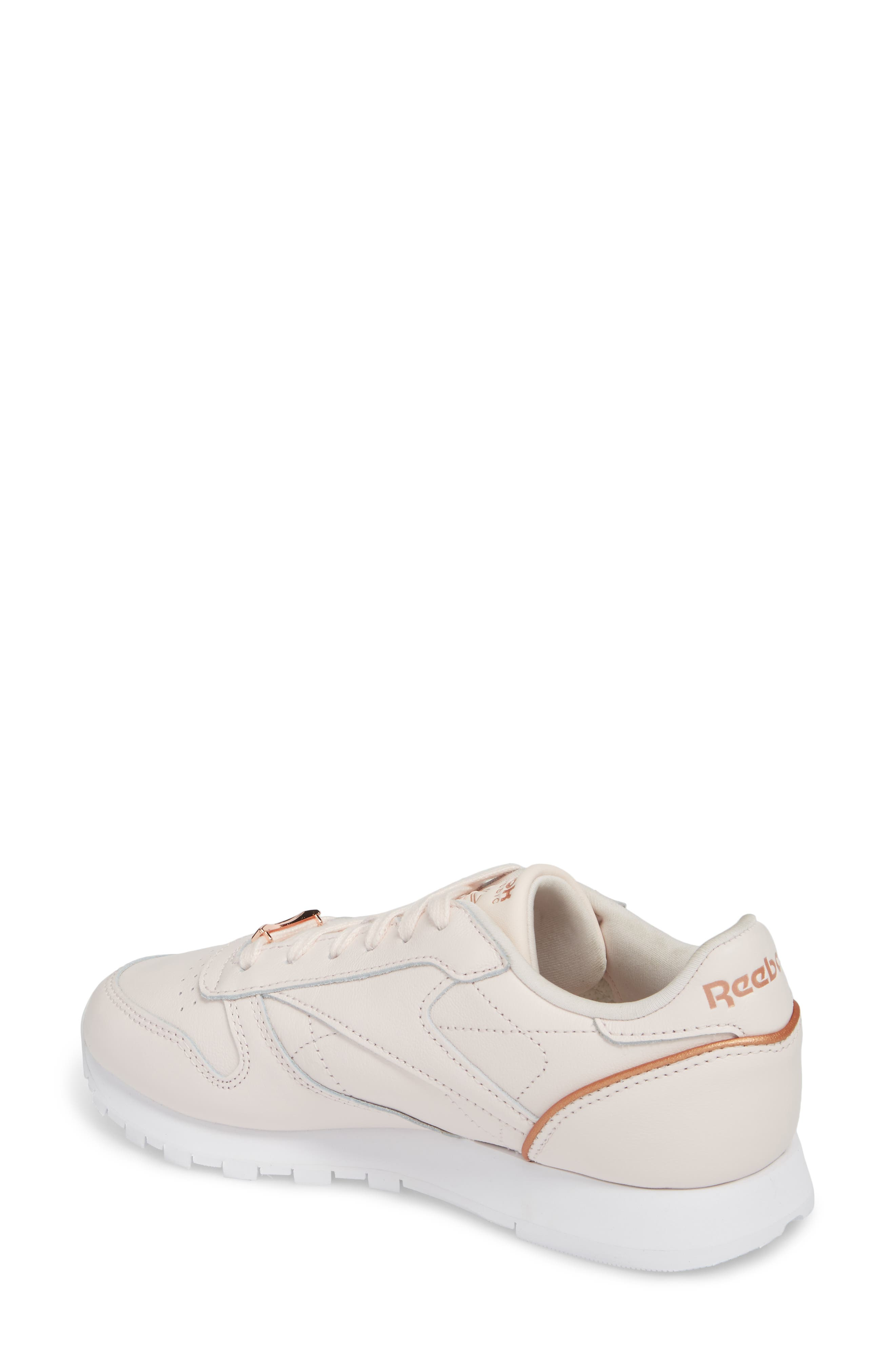 Classic Leather HW Sneaker,                             Alternate thumbnail 2, color,                             Pale Pink/ White/ Rose Gold