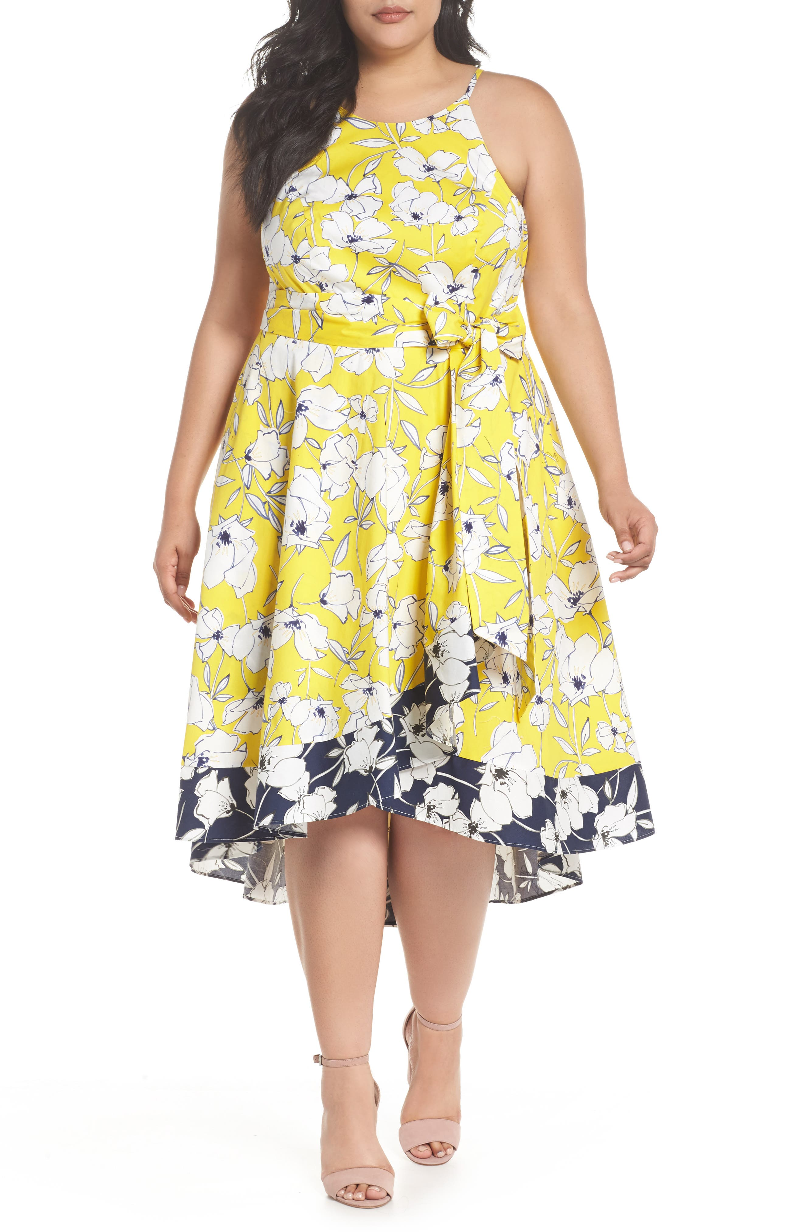 Floral Fit & Flare Dress,                             Main thumbnail 1, color,                             Yellow/ Navy/ White