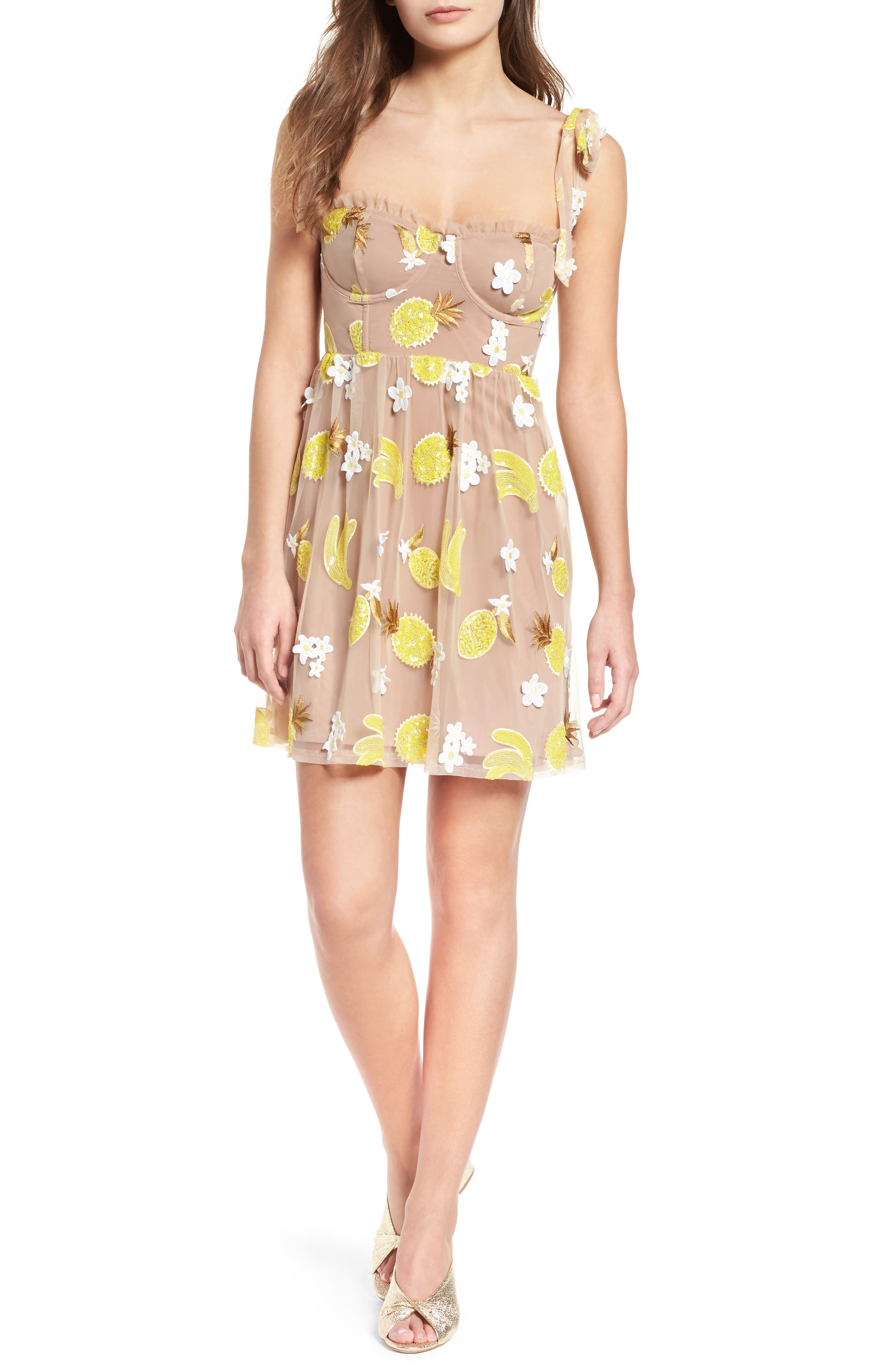 Fruitpunch Sequin Minidress,                             Main thumbnail 1, color,                             Pineapple