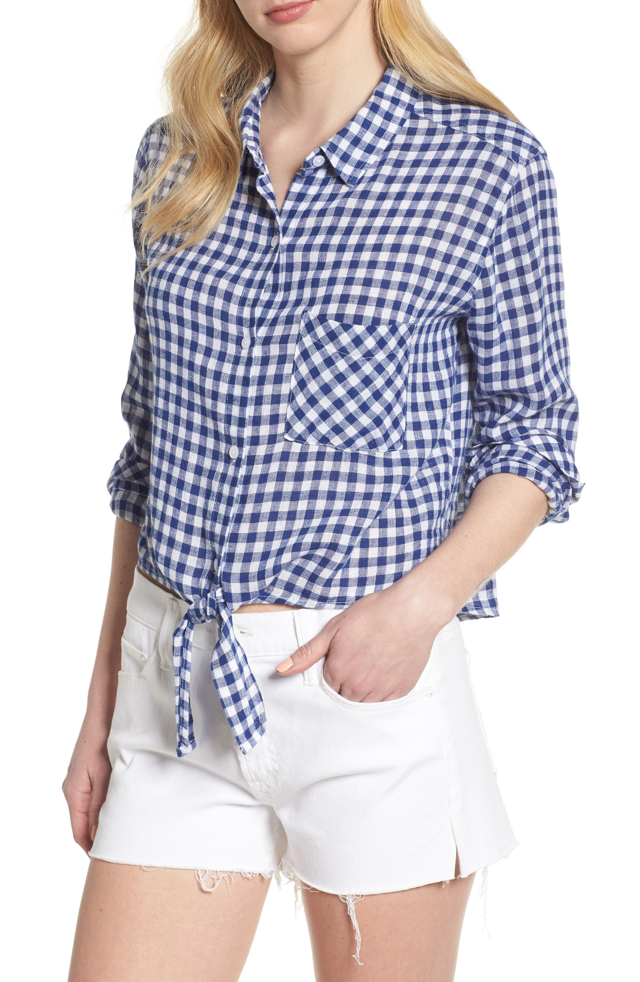 Val Gingham Tie Front Shirt,                         Main,                         color, Blue Gingham