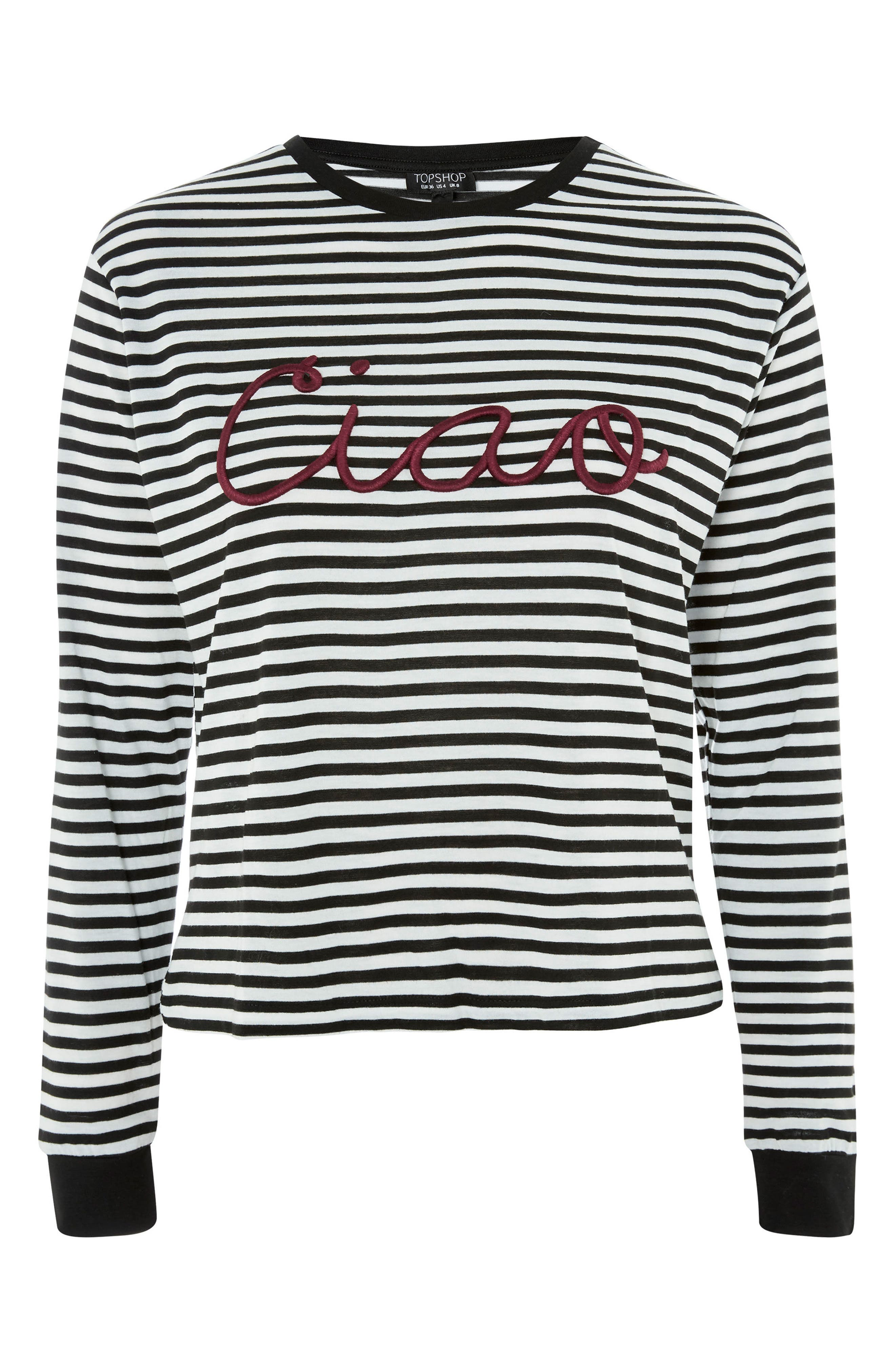 Ciao Embroidered Stripe Shirt,                             Alternate thumbnail 4, color,                             Black Multi