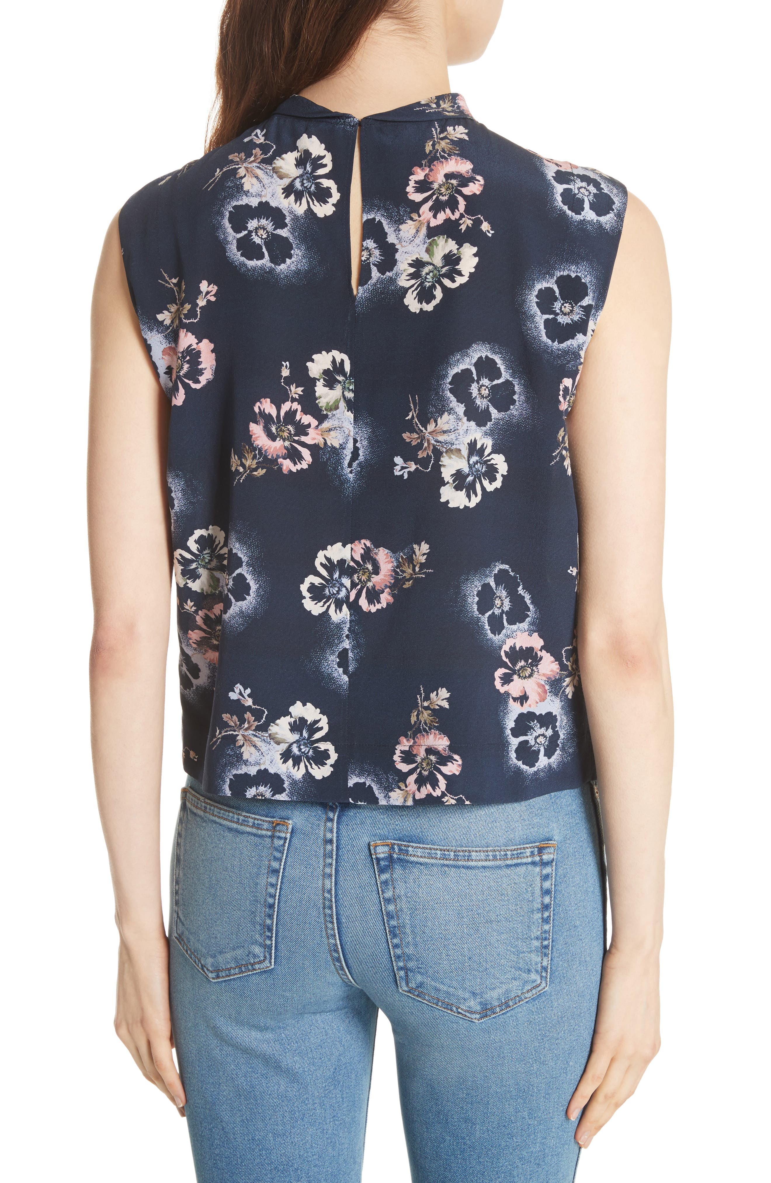Floral Knotted Silk Top,                             Alternate thumbnail 2, color,                             Navy