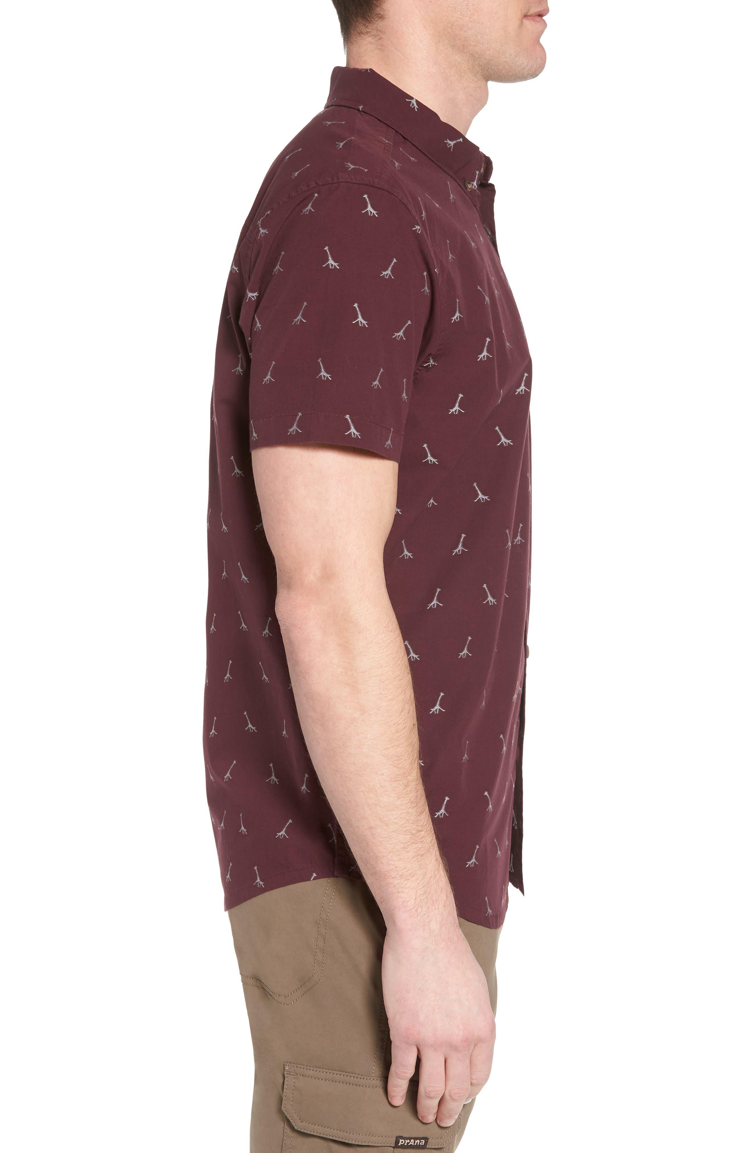 Broderick Slim Fit Short Sleeve Sport Shirt,                             Alternate thumbnail 3, color,                             Thistle
