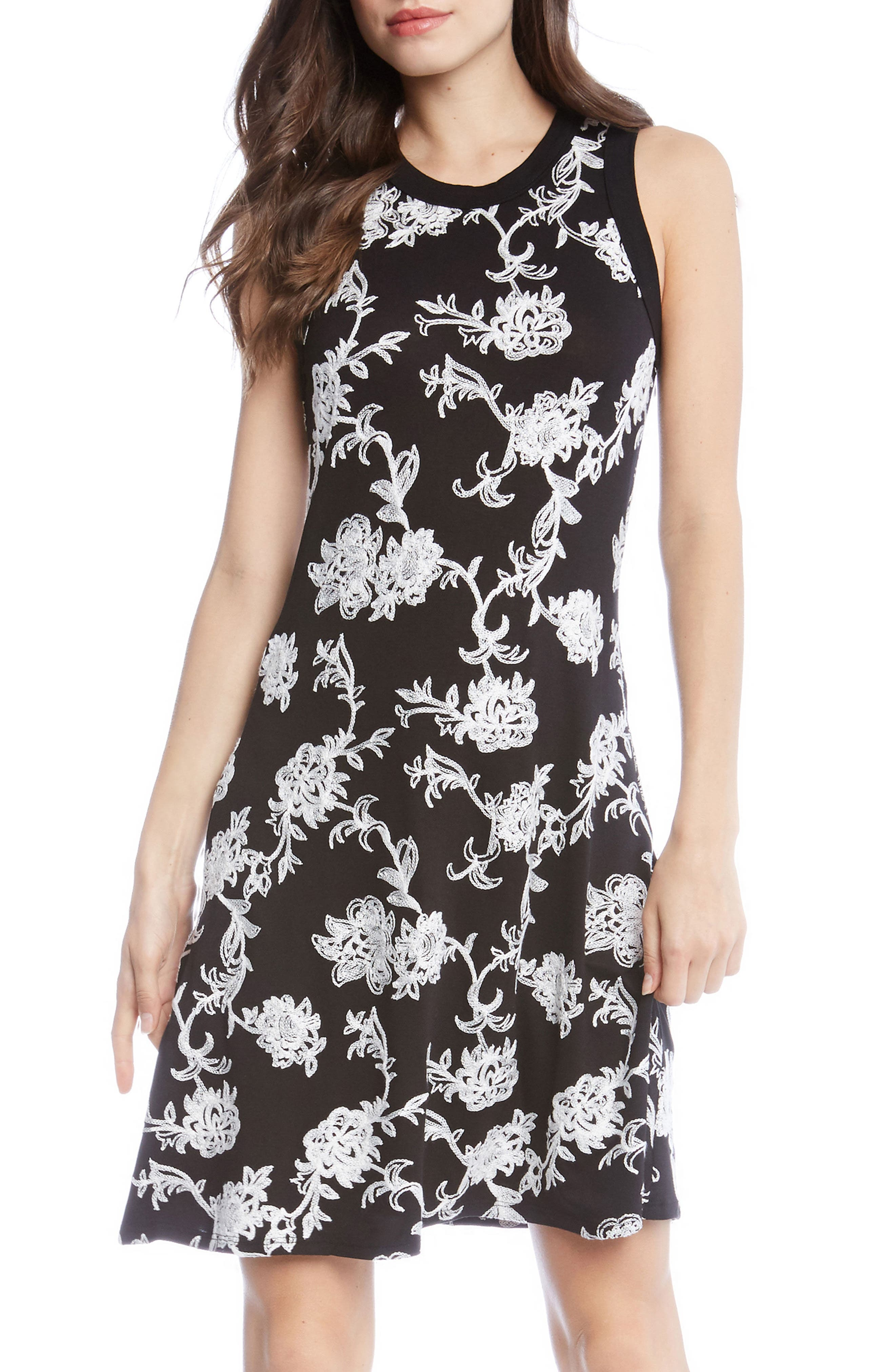Embroidered Knit Dress,                             Main thumbnail 1, color,                             Black