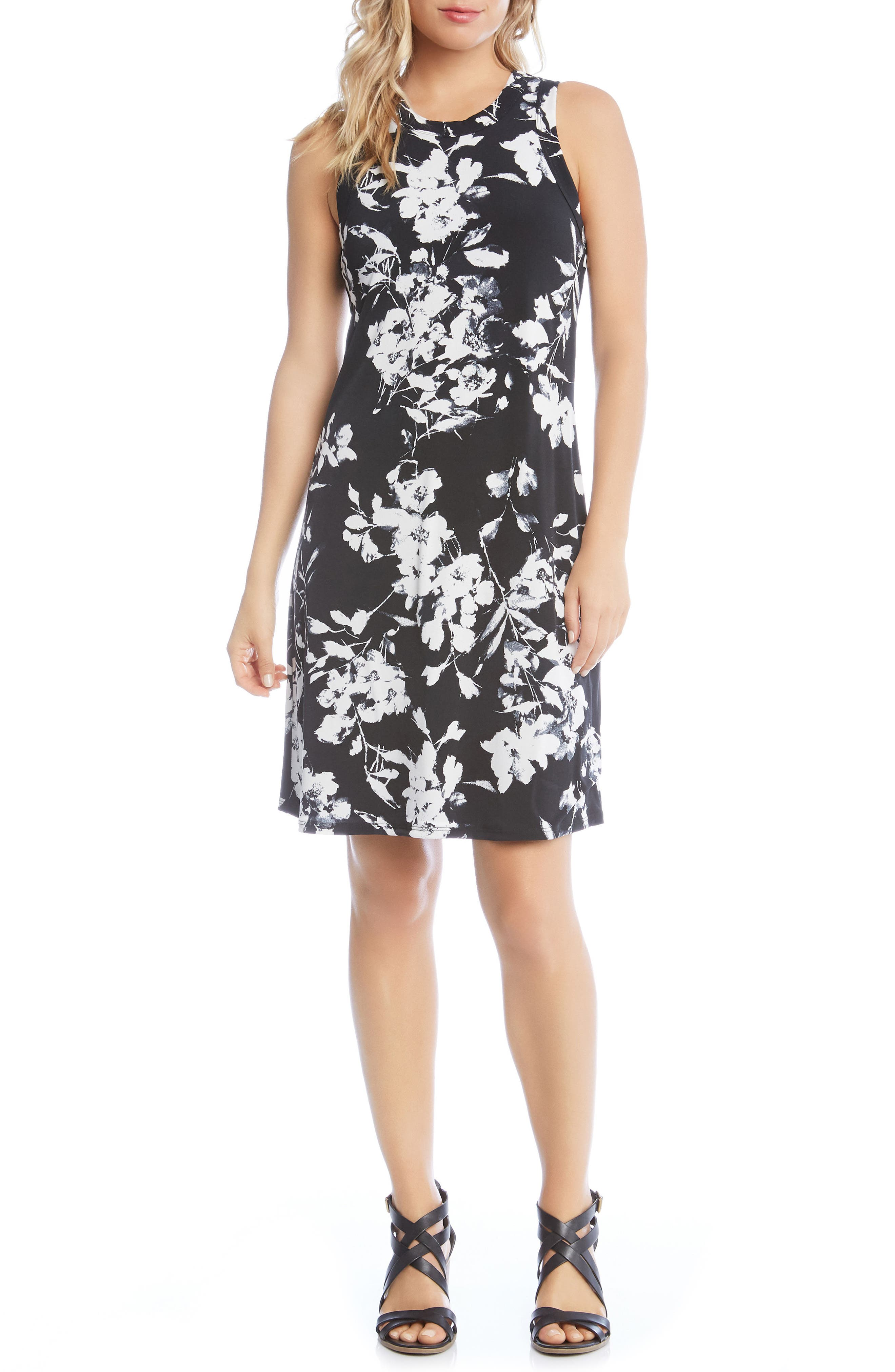 Floral Print Knit Dress,                             Main thumbnail 1, color,                             Black/ Off White