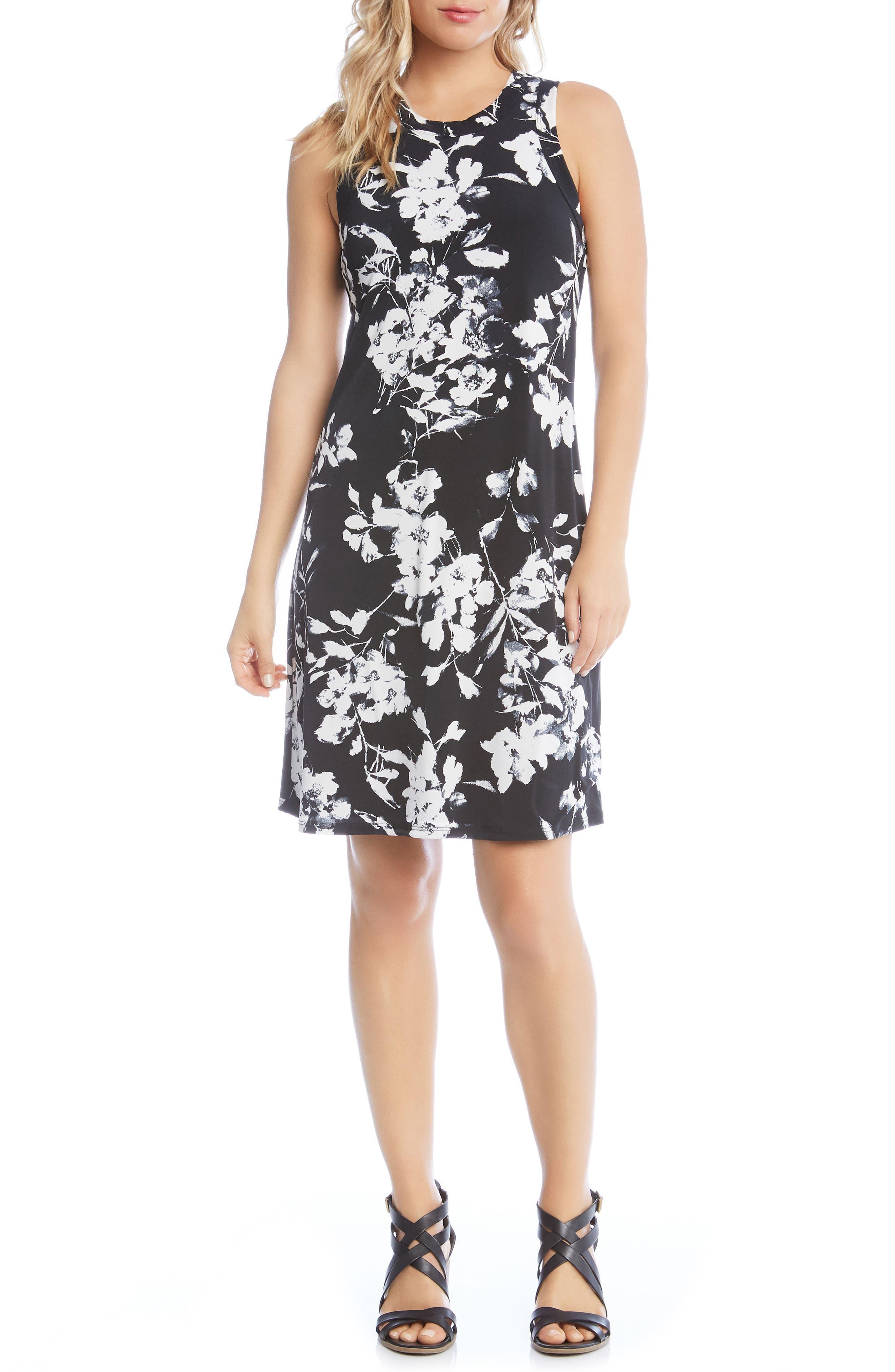 Floral Print Knit Dress,                         Main,                         color, Black/ Off White