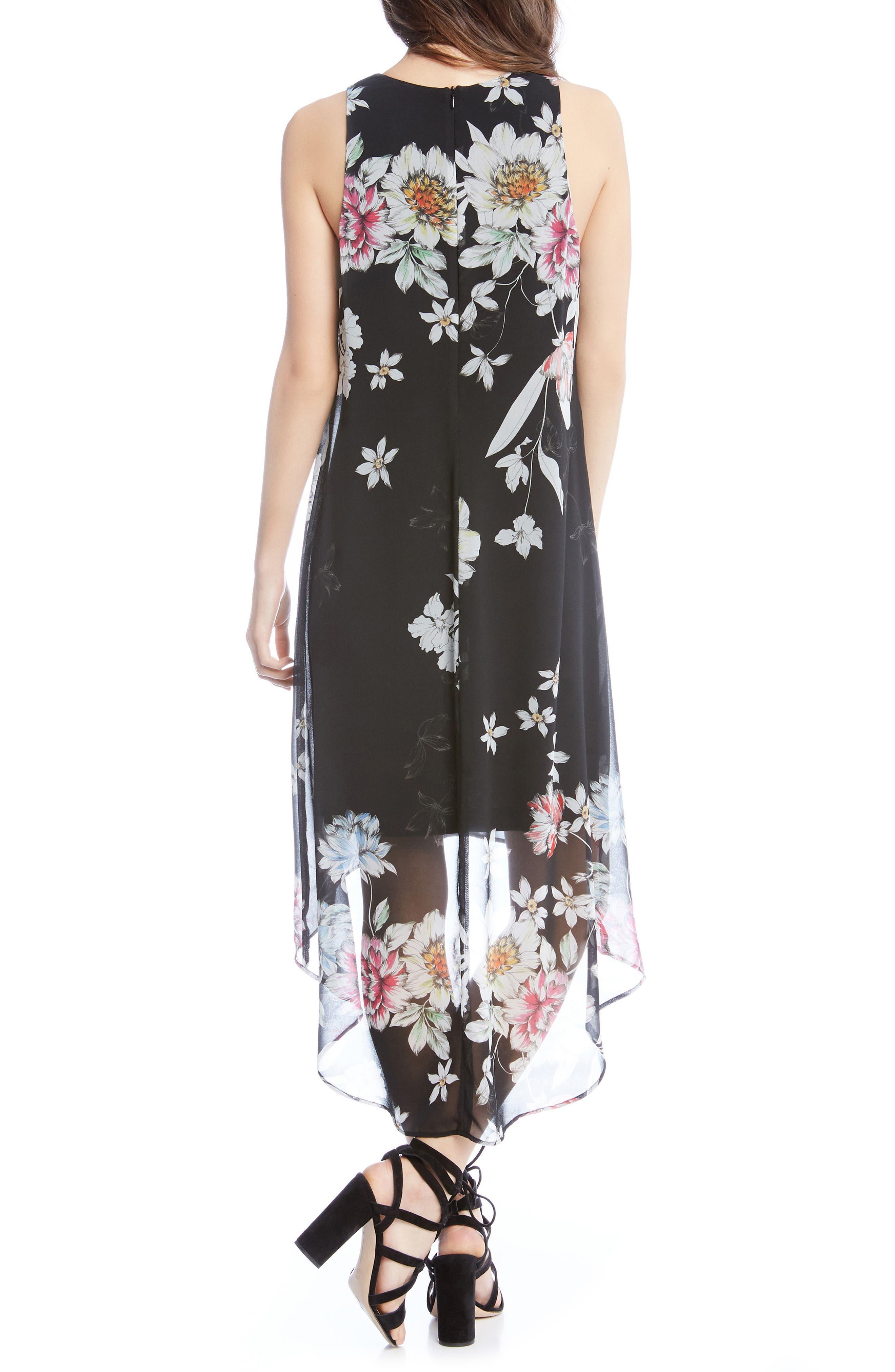 Floral High/Low Dress,                             Alternate thumbnail 2, color,                             Print