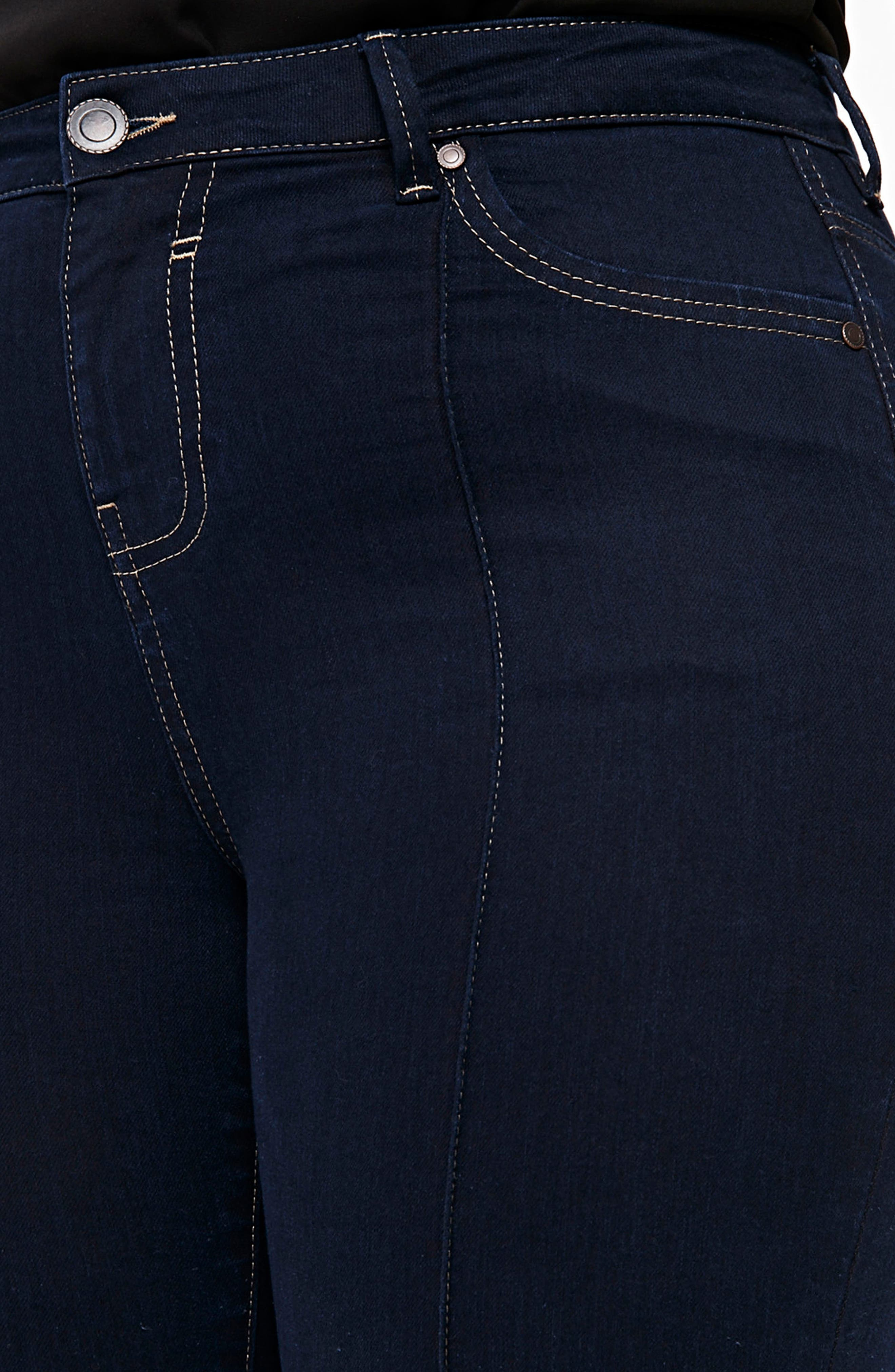 Pintuck High Waist Skinny Jeans,                             Alternate thumbnail 4, color,                             Indigo