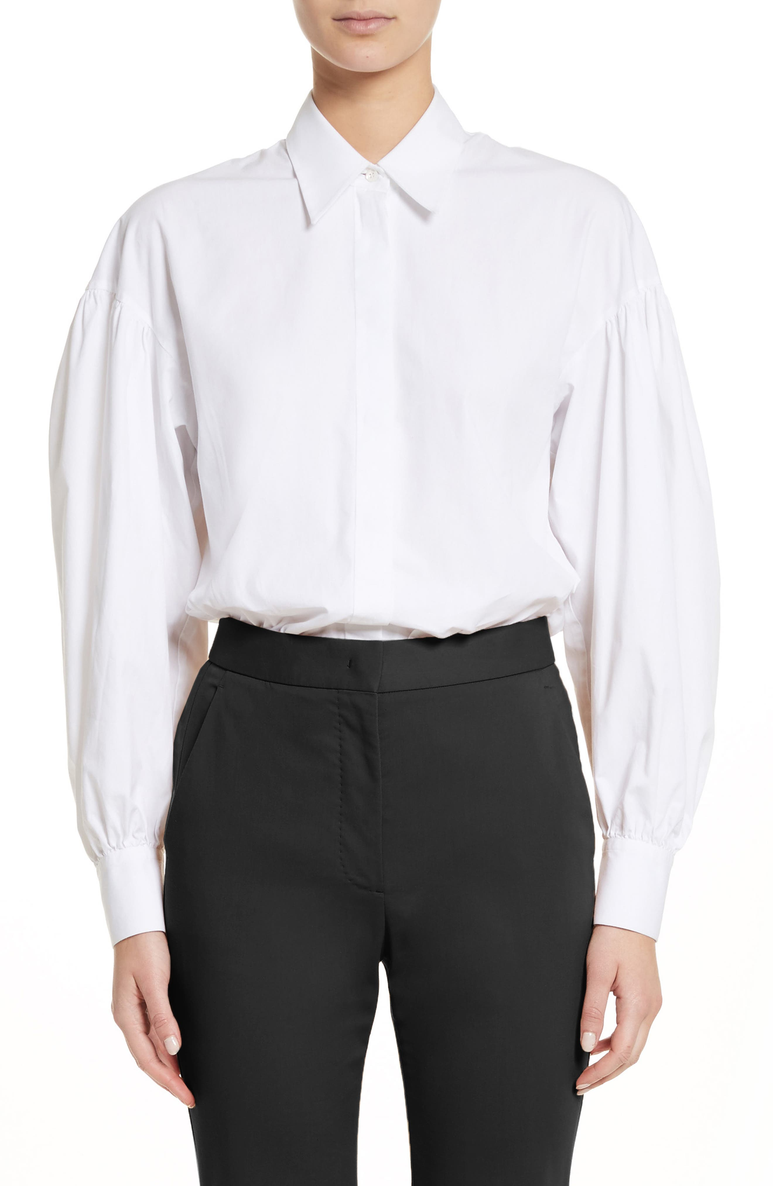Puff Sleeve Shirt,                         Main,                         color, White