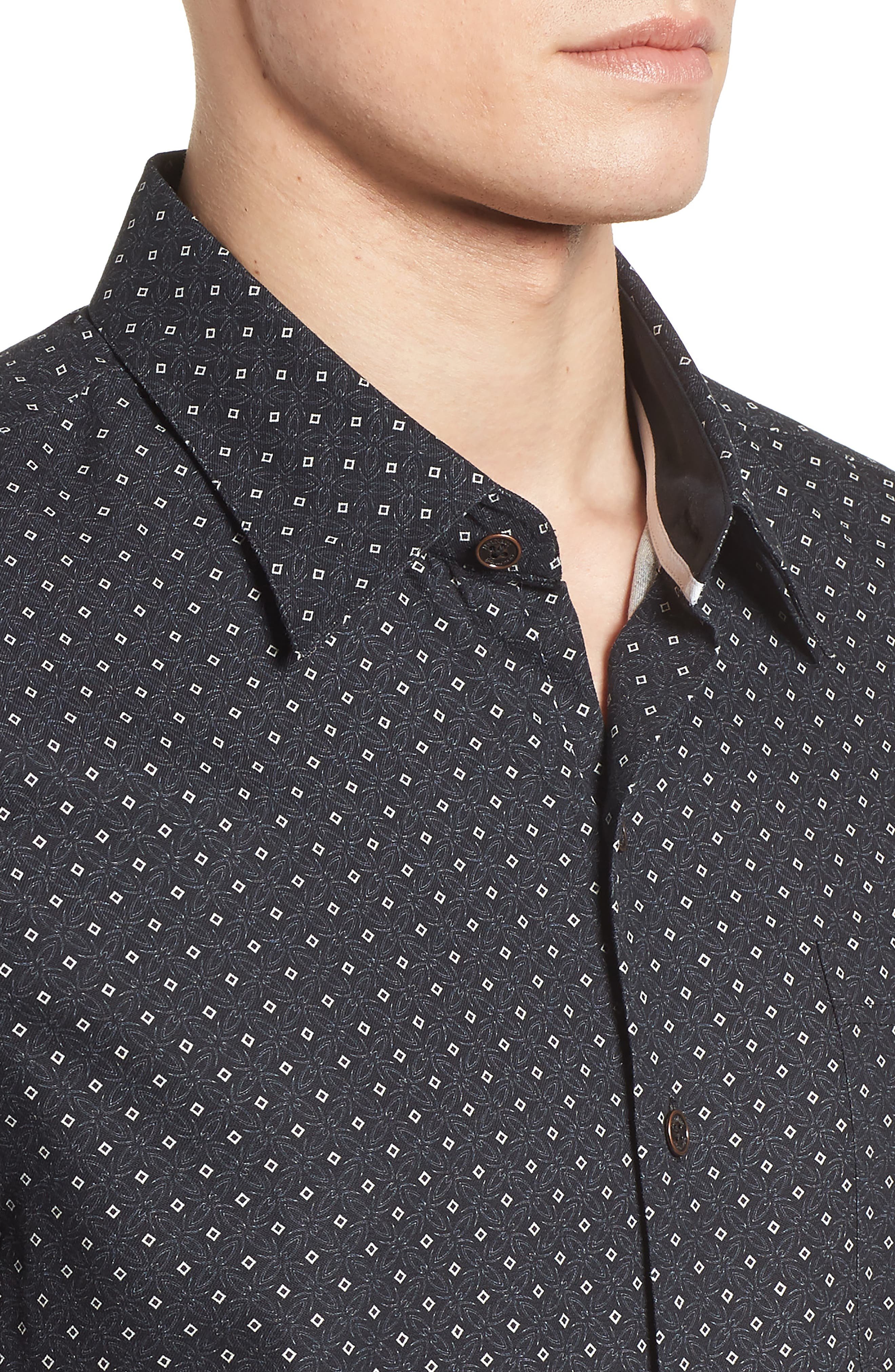 Fleural Camp Shirt,                             Alternate thumbnail 4, color,                             Black
